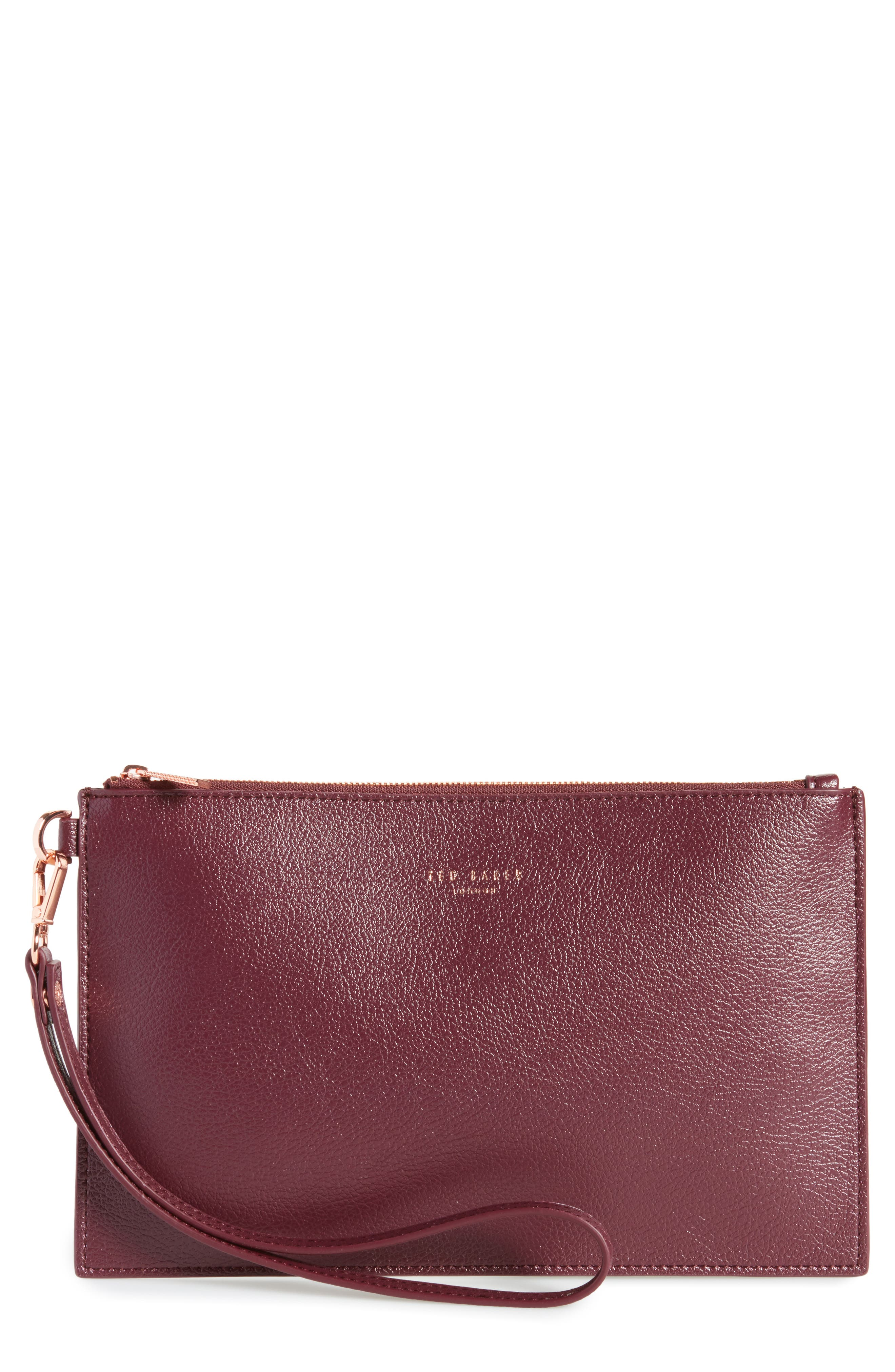 Main Image - Ted Baker London Top Zip Faux Leather Pouch