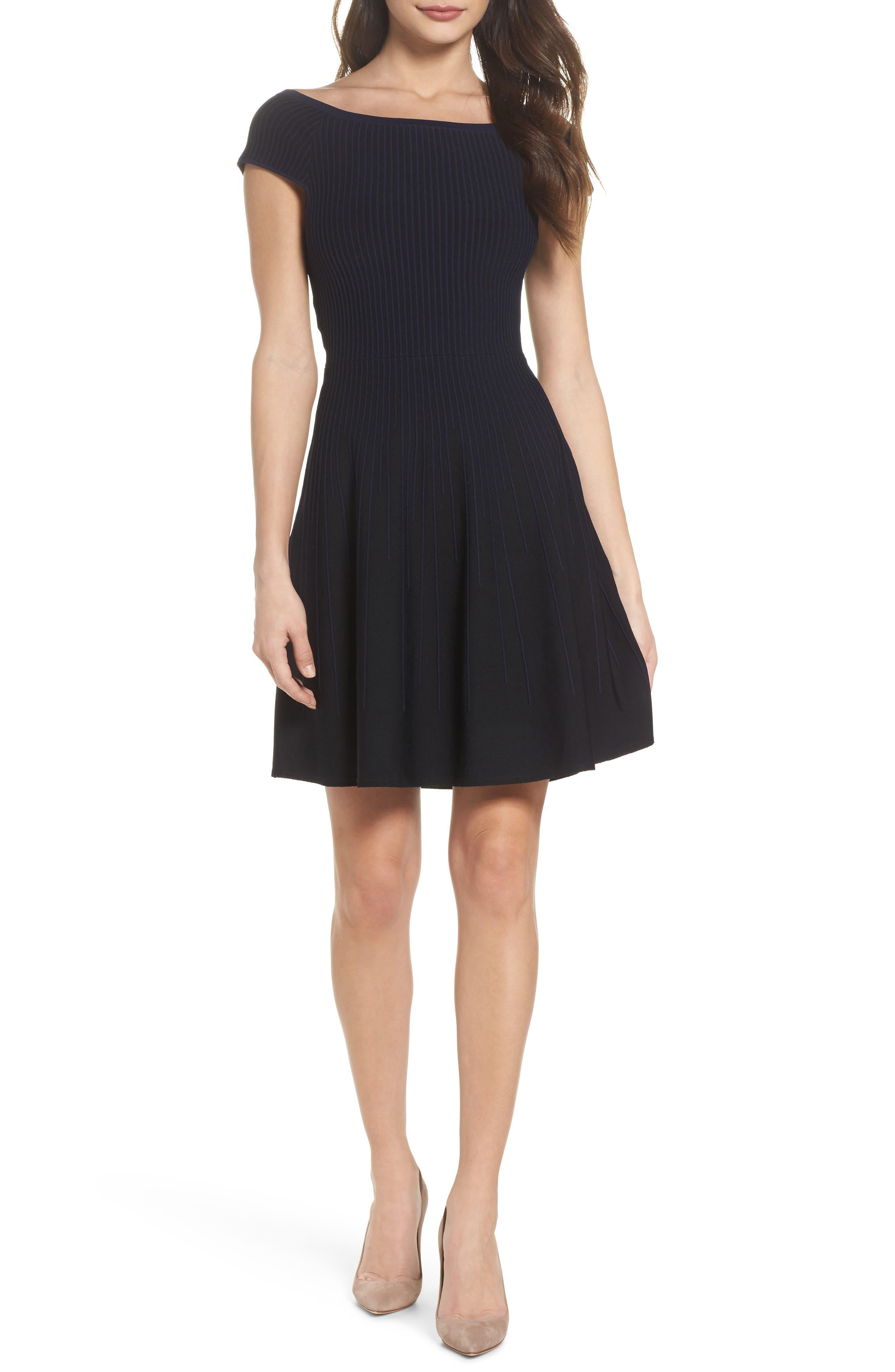 Olivia Off the Shoulder Dress,                             Main thumbnail 1, color,                             Black/ Nocturnal