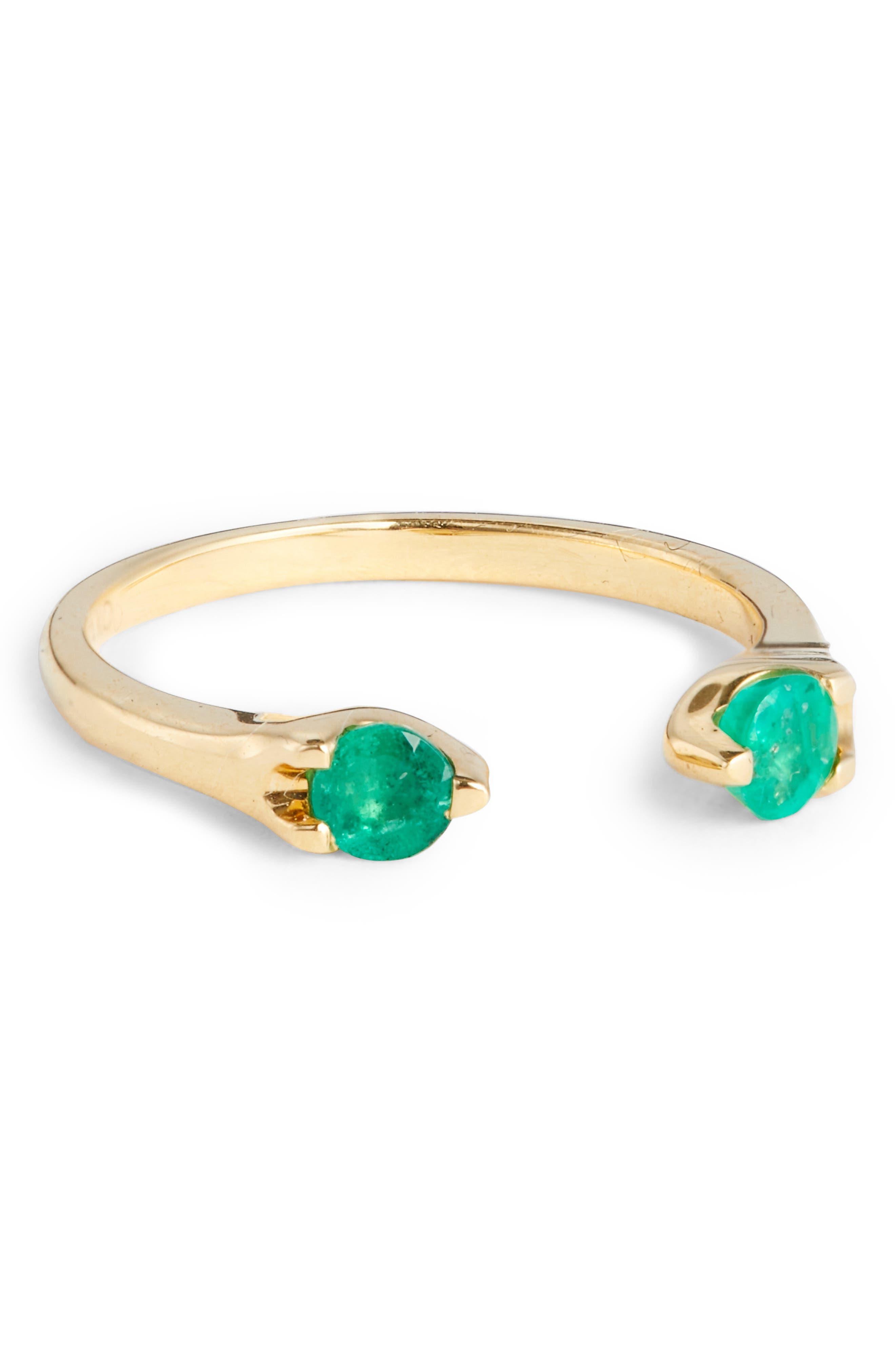 Anita Ko Orbit Emerald Open Ring