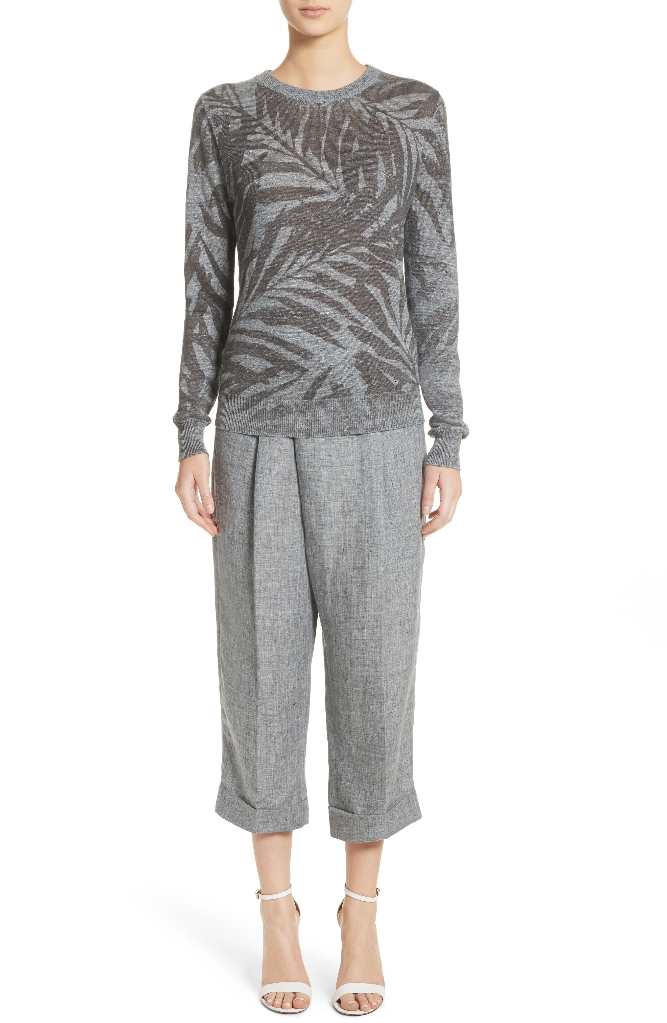 Cross Front Linen Crop Trousers,                             Alternate thumbnail 8, color,                             Banker Melange
