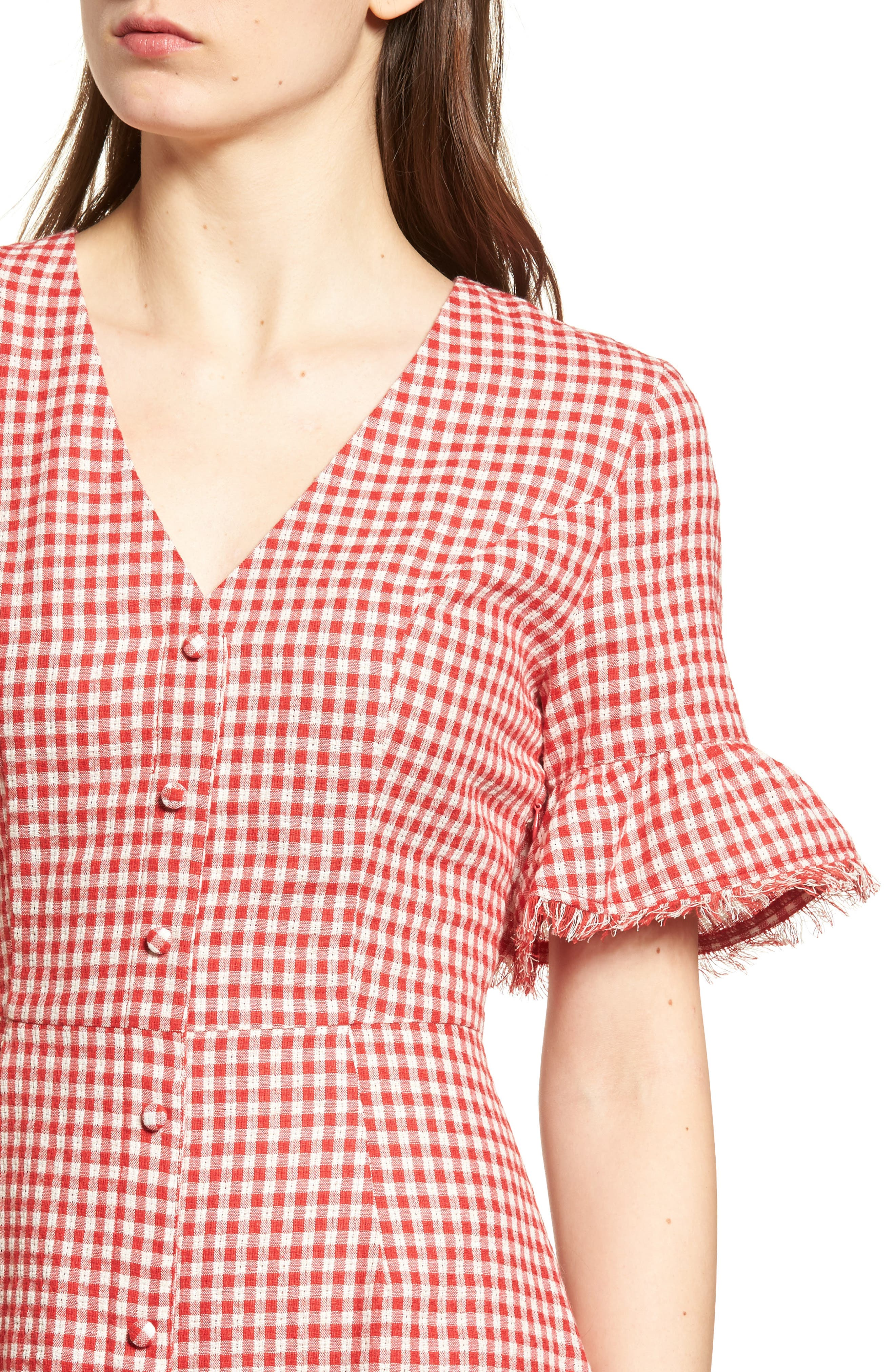 Gingham Ruffle Sleeve Dress,                             Alternate thumbnail 5, color,                             Red Gingham
