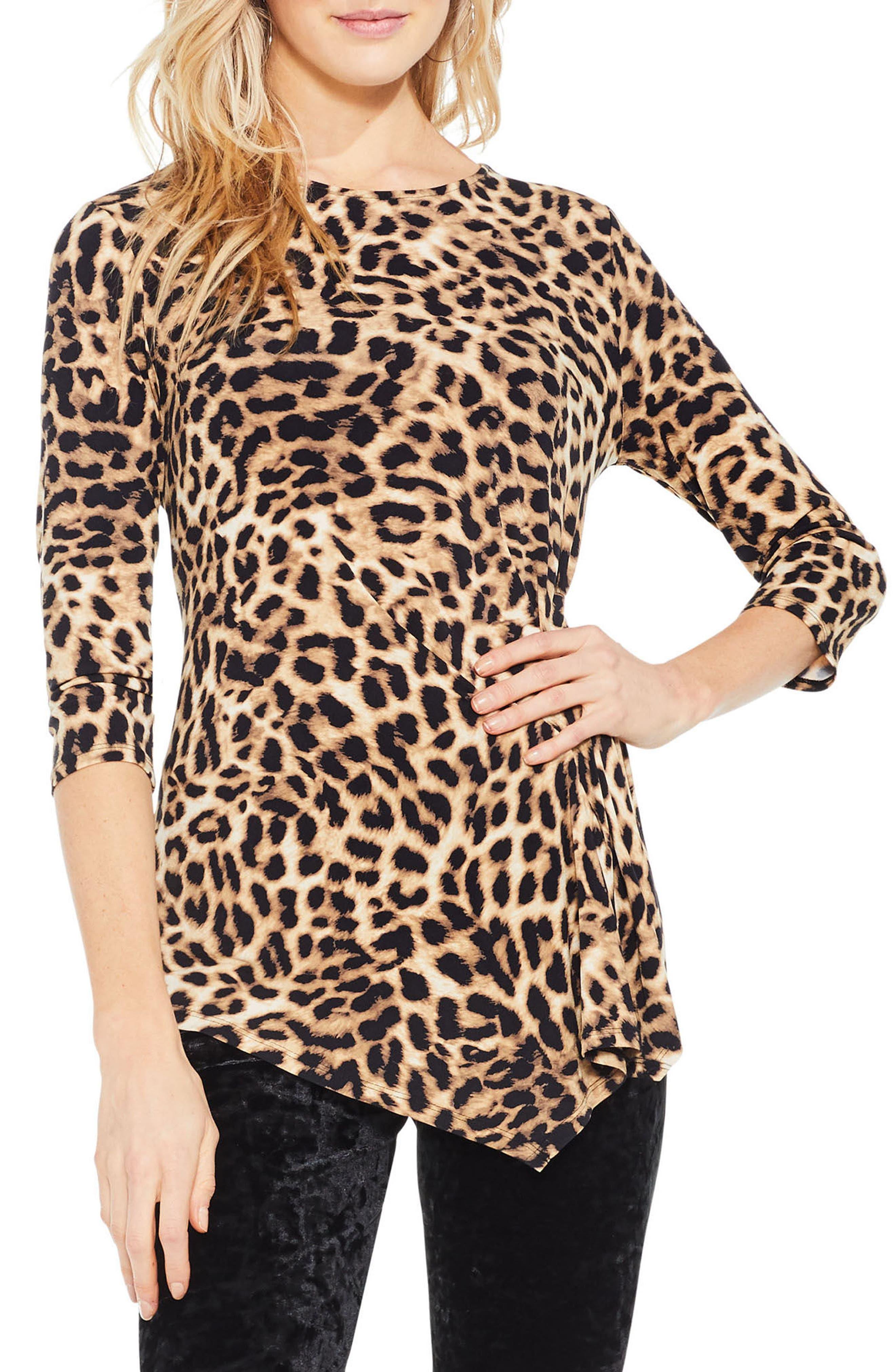 Main Image - Vince Camuto Leopard Print Asymmetrical Hem Top (Regular & Petite)
