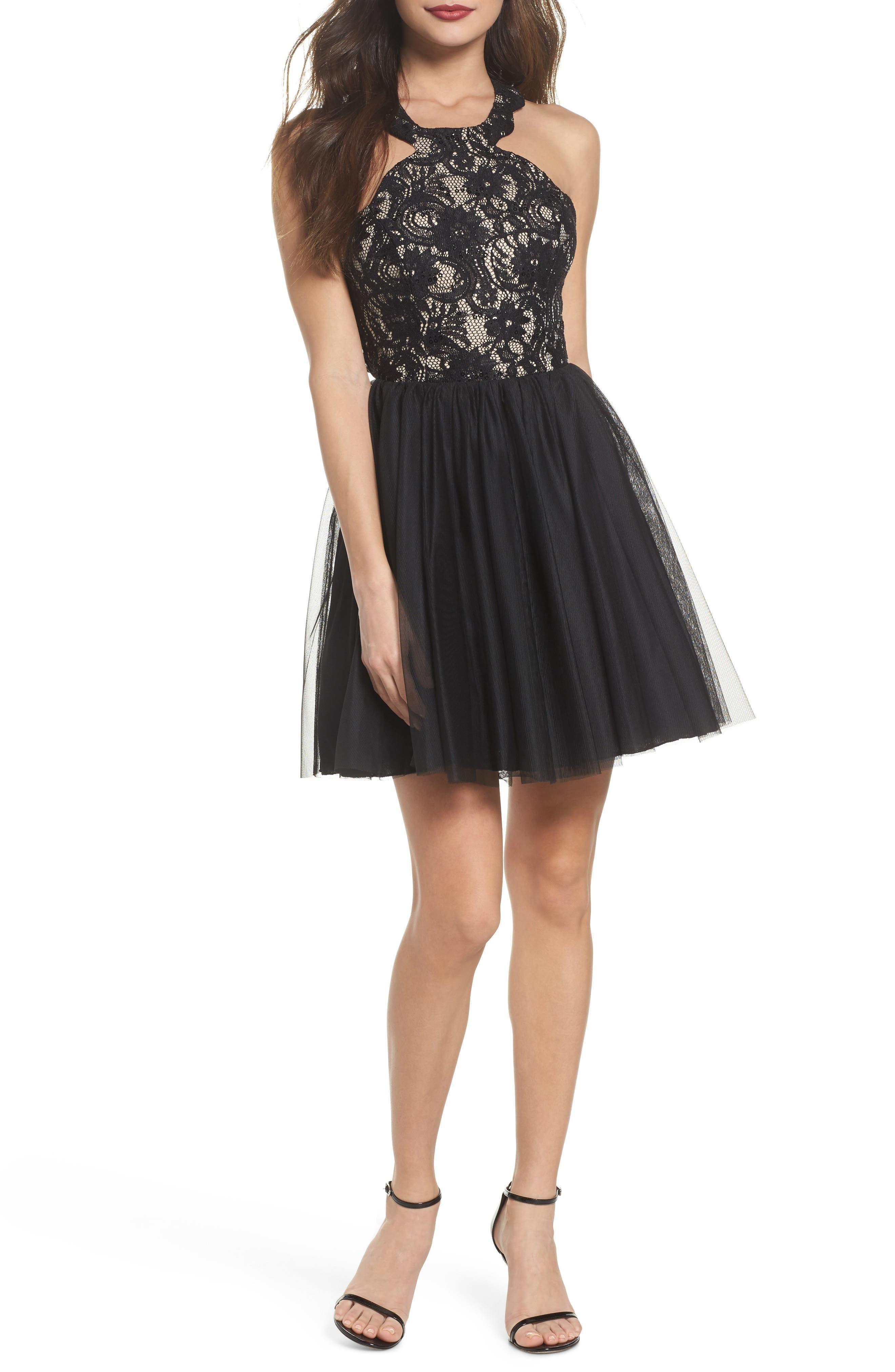 Lace Halter Neck Dress,                         Main,                         color, Black/ Nude