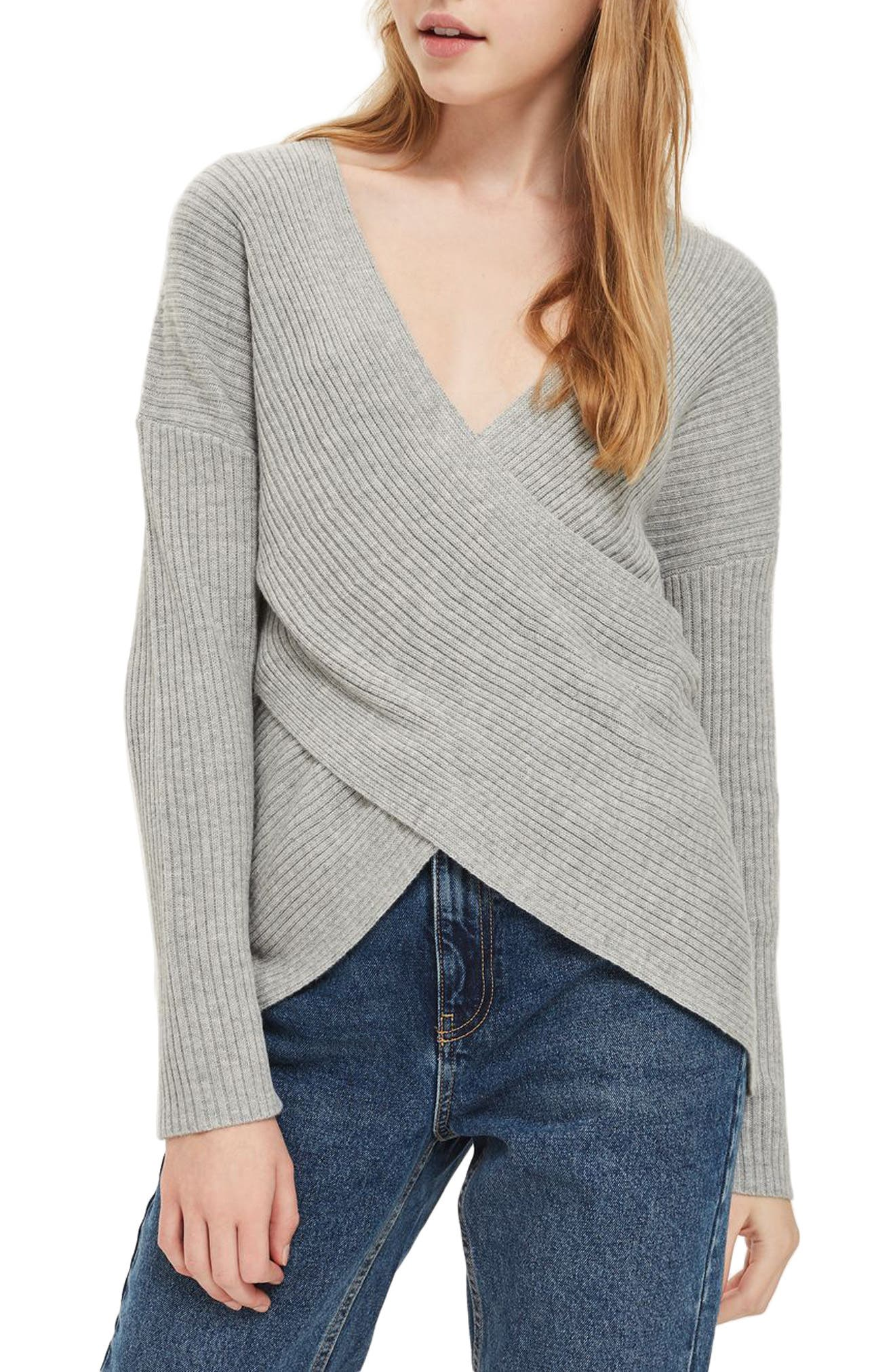 Wrap Front Sweater,                             Main thumbnail 1, color,                             Grey