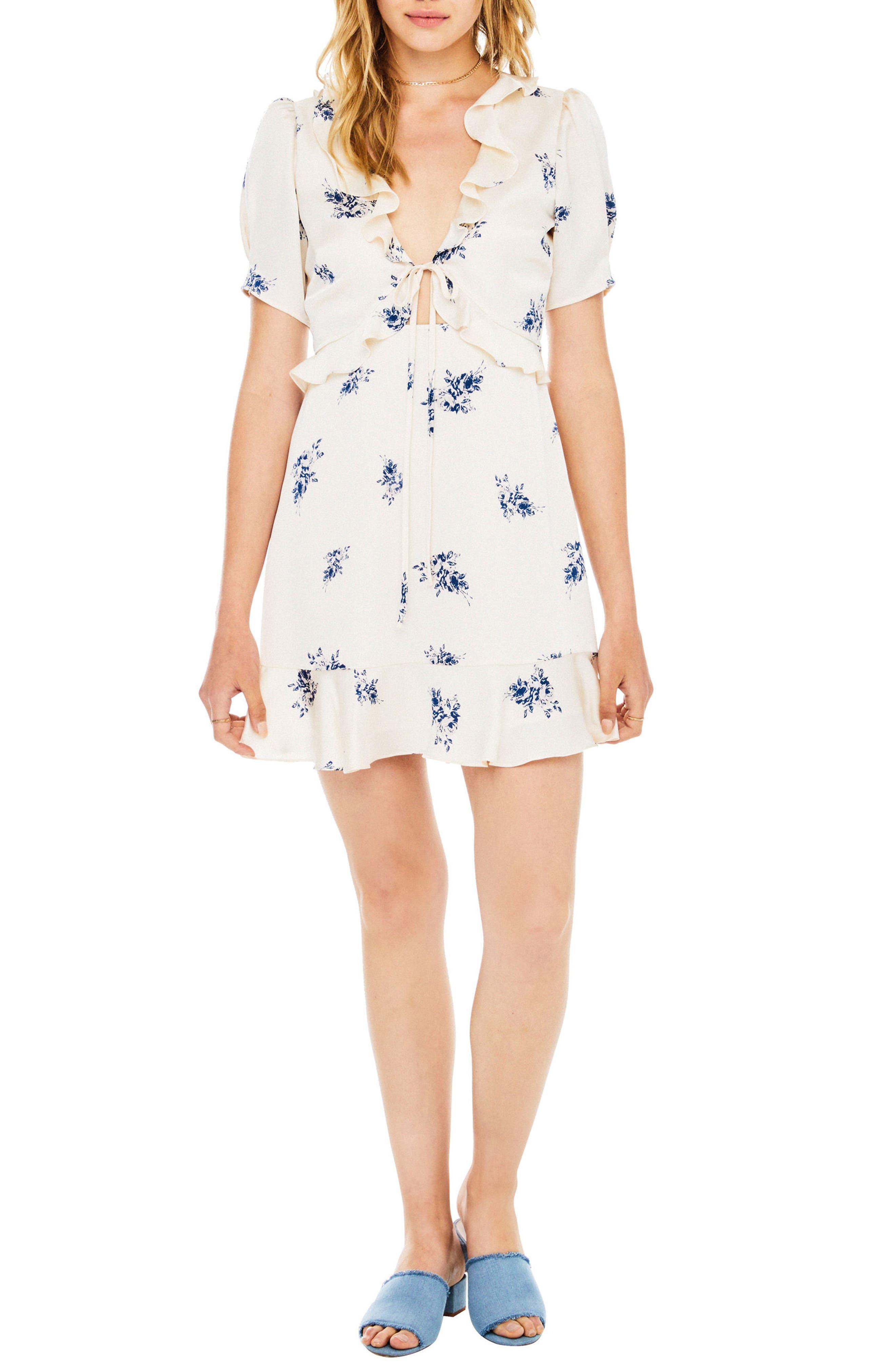 Billie Dress,                         Main,                         color, Cream Satin Floral