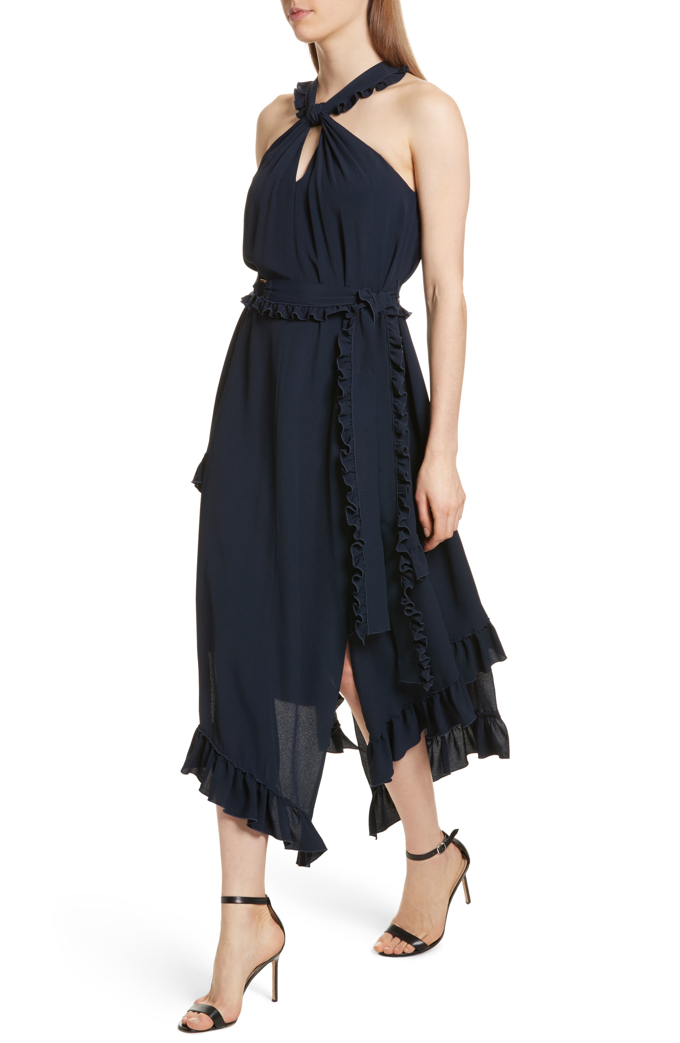 Ruffled Asymmetrical Dress,                             Alternate thumbnail 4, color,                             Midnight