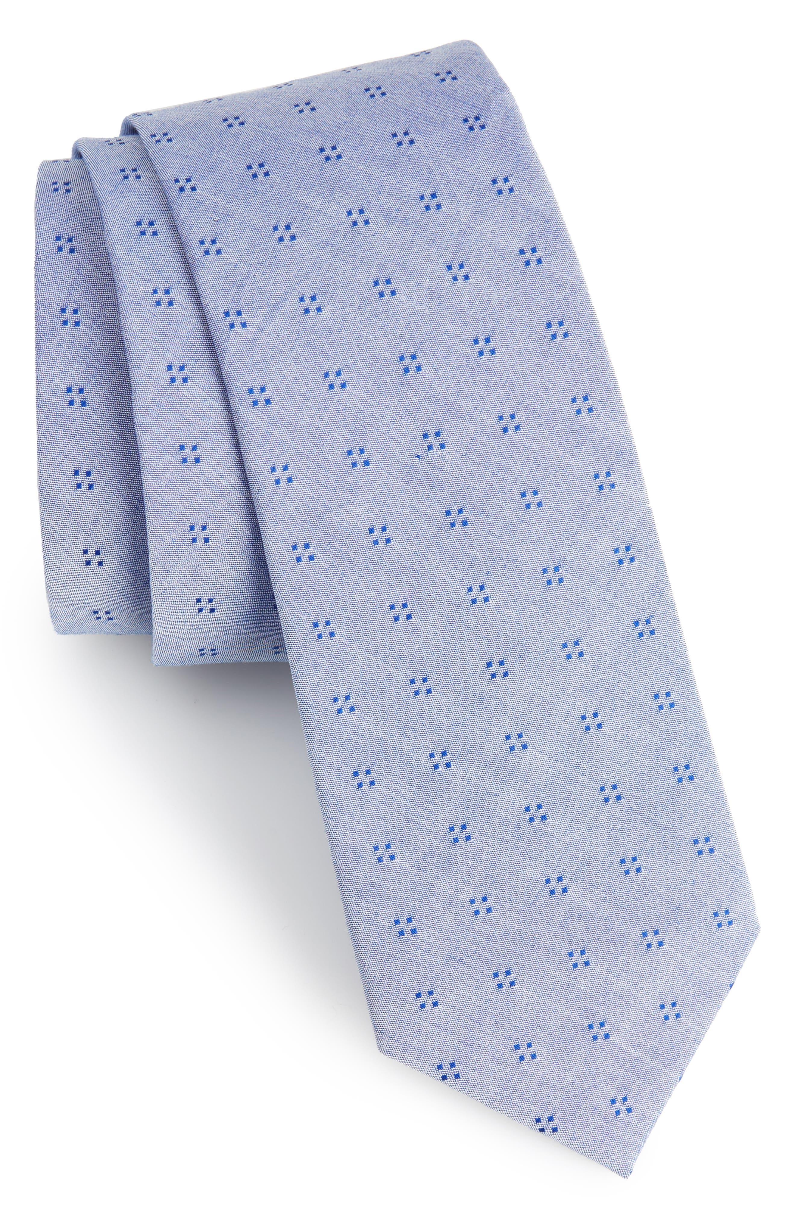 Main Image - 1901 Indigo Neat Cotton Skinny Tie