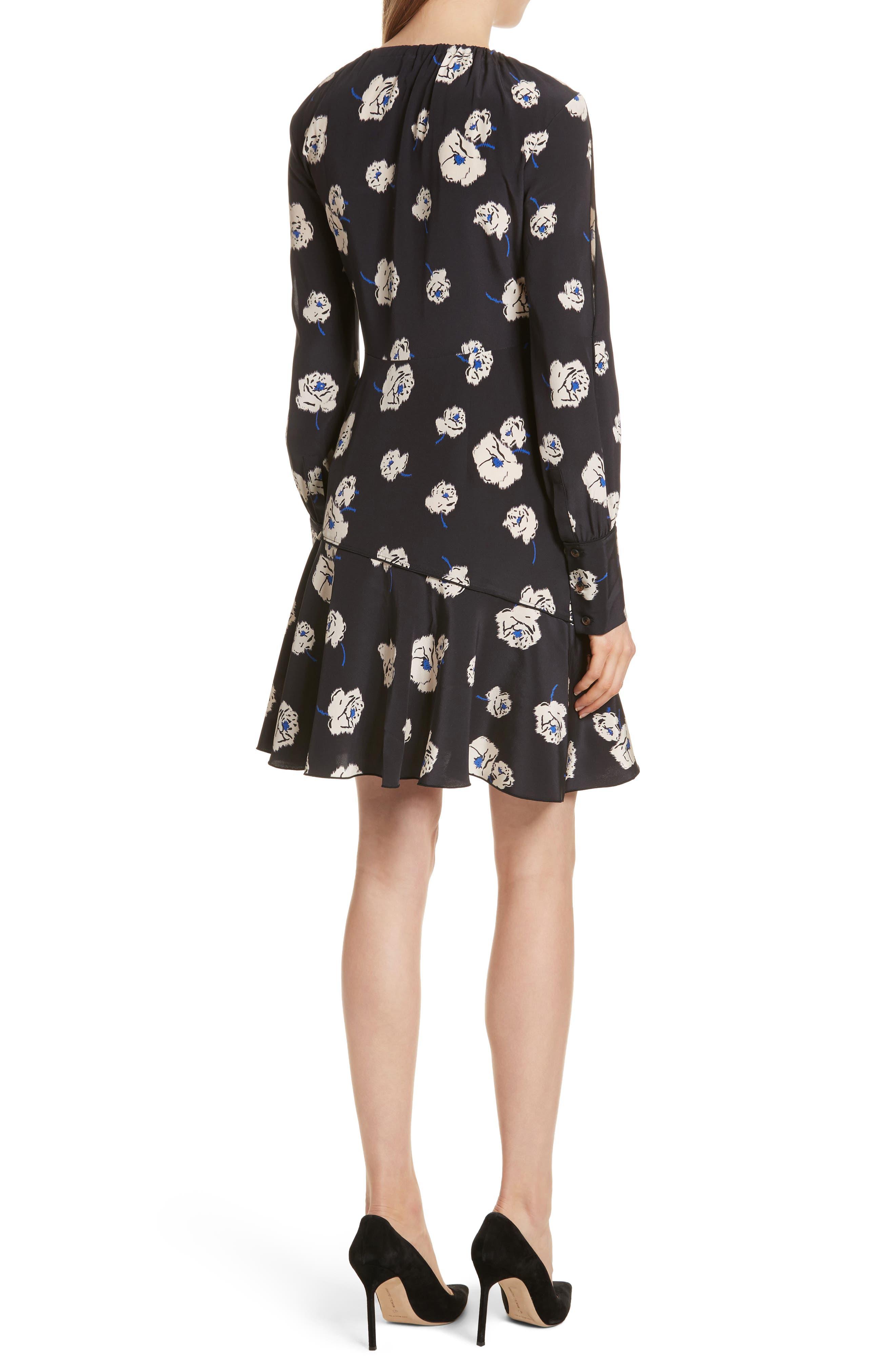 Floral Ruffle Silk Dress,                             Alternate thumbnail 2, color,                             Black