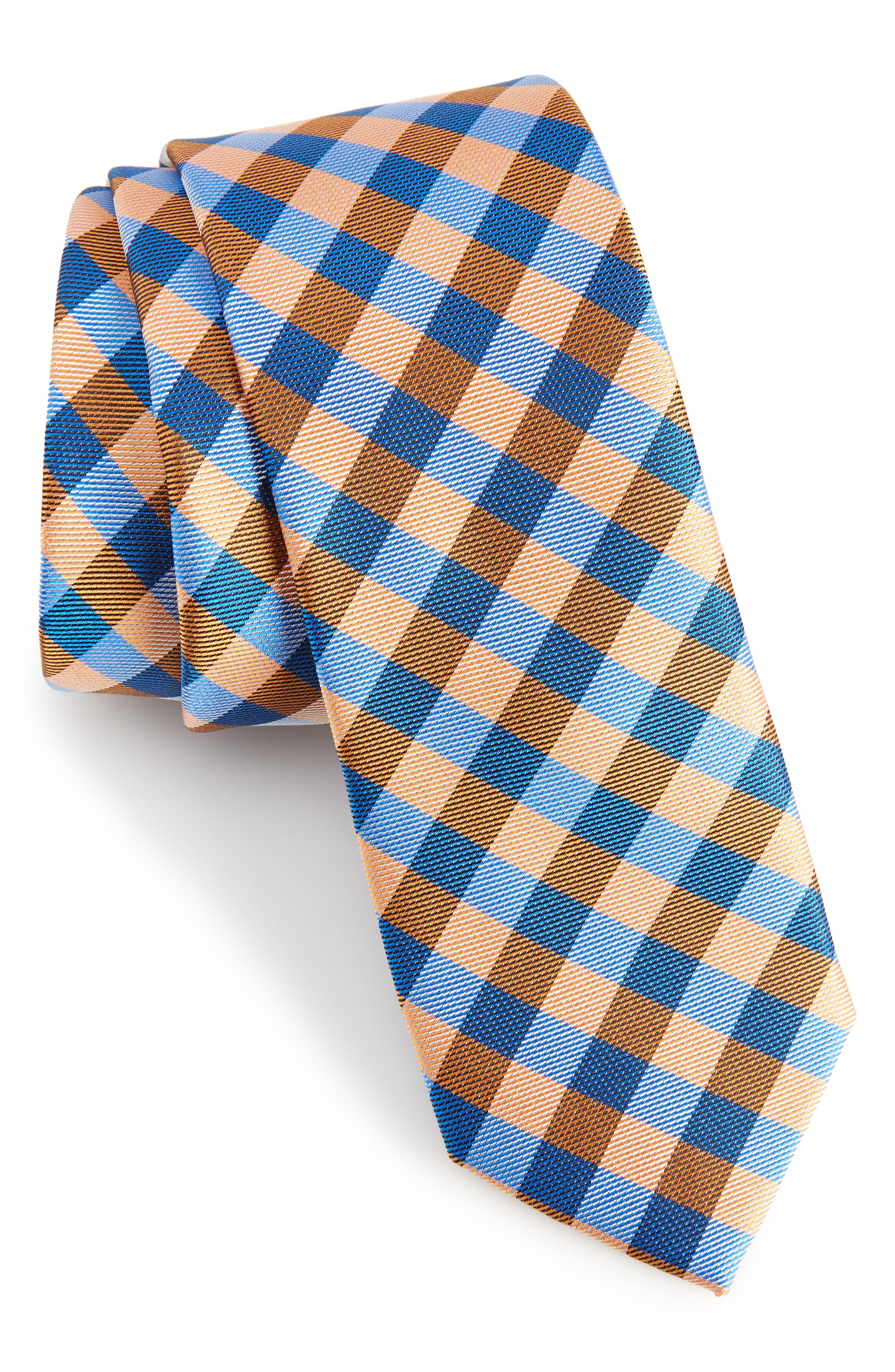 Lopez Check Silk Skinny Tie,                         Main,                         color, Navy