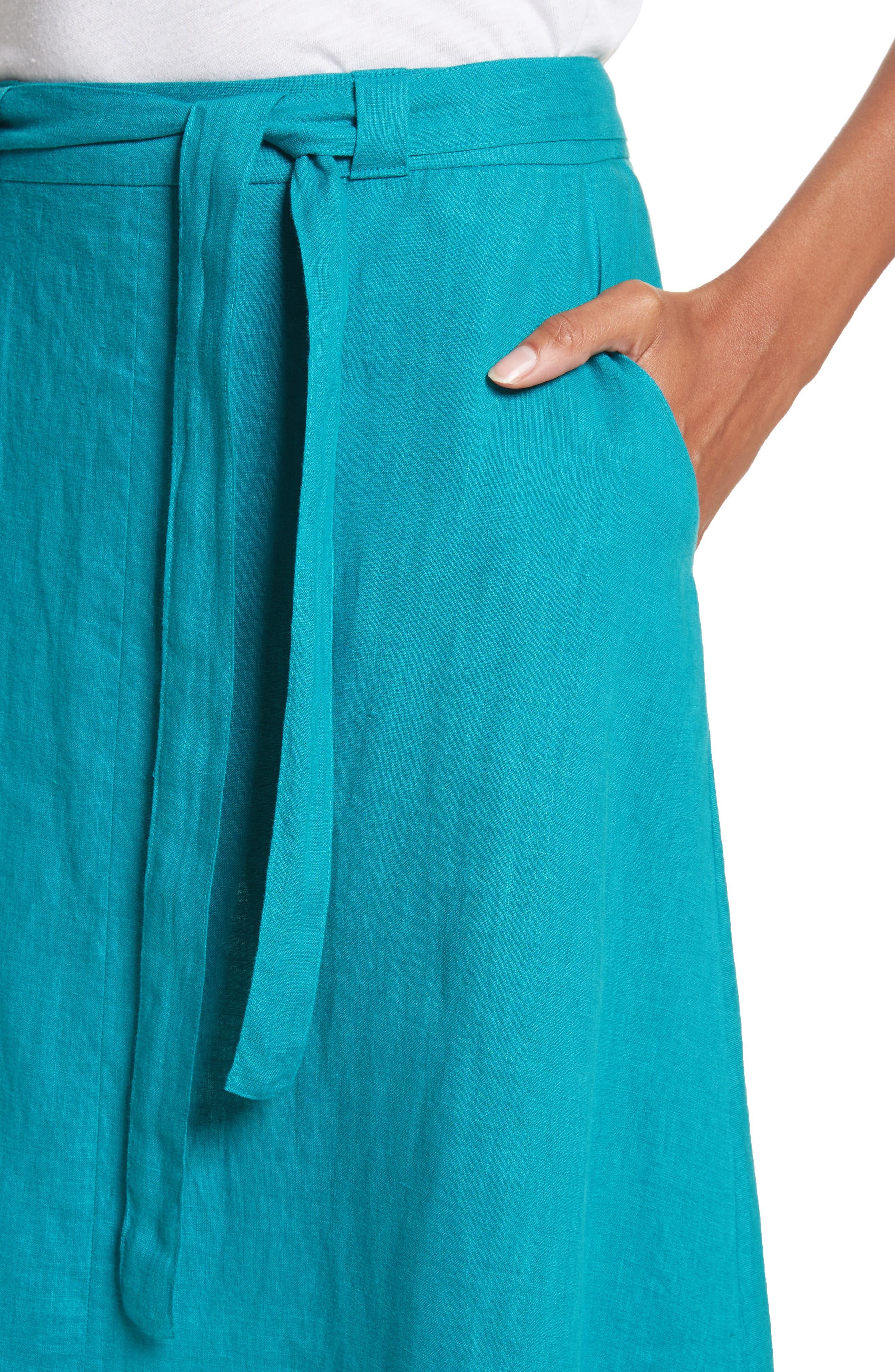 Delta Tie Waist Linen Skirt,                             Alternate thumbnail 4, color,                             Peacock