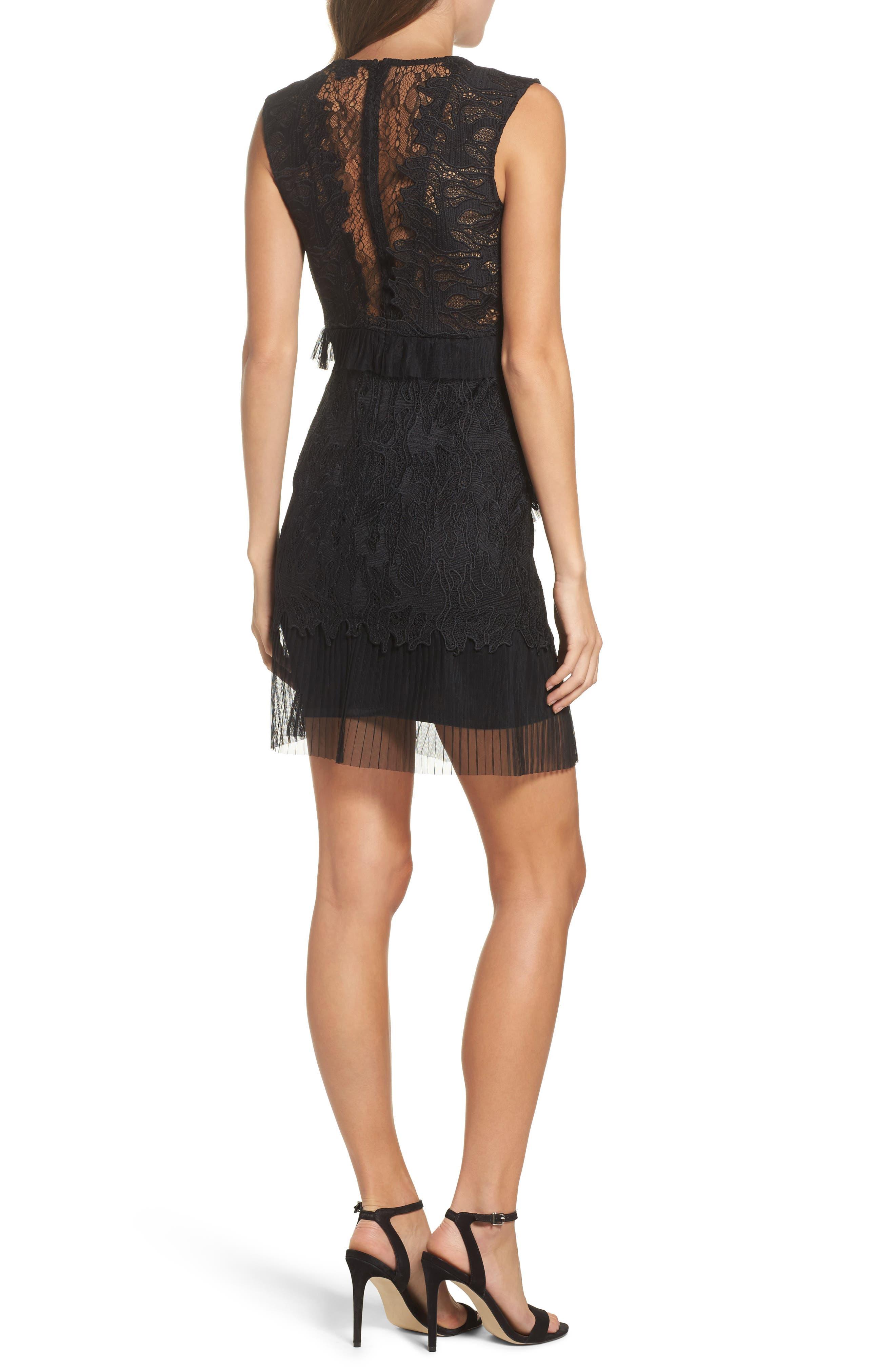 Ruffle Trim Lace Sheath Dress,                             Alternate thumbnail 3, color,                             Black
