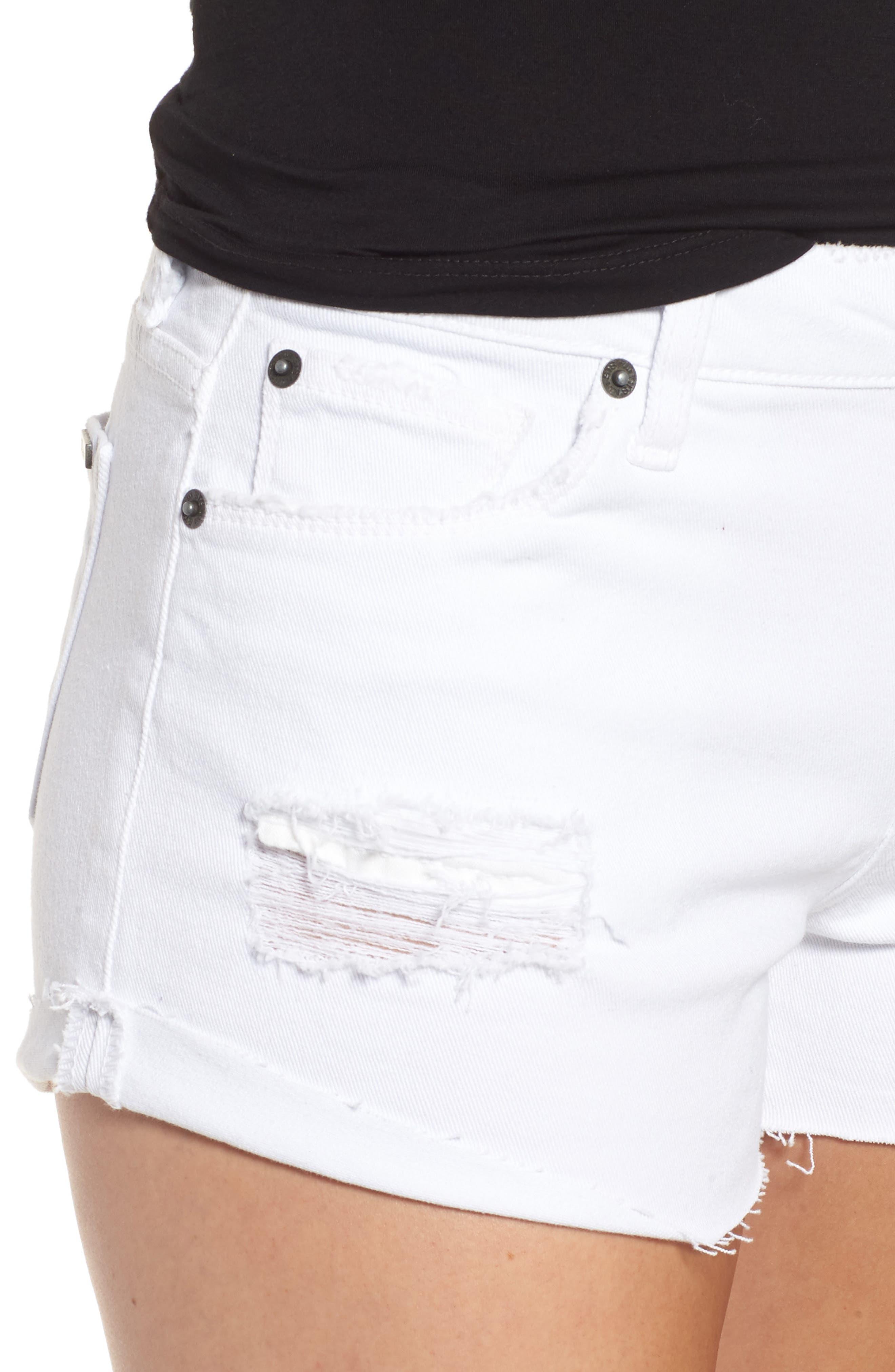 Distressed Boyfriend Denim Shorts,                             Alternate thumbnail 4, color,                             Optic White