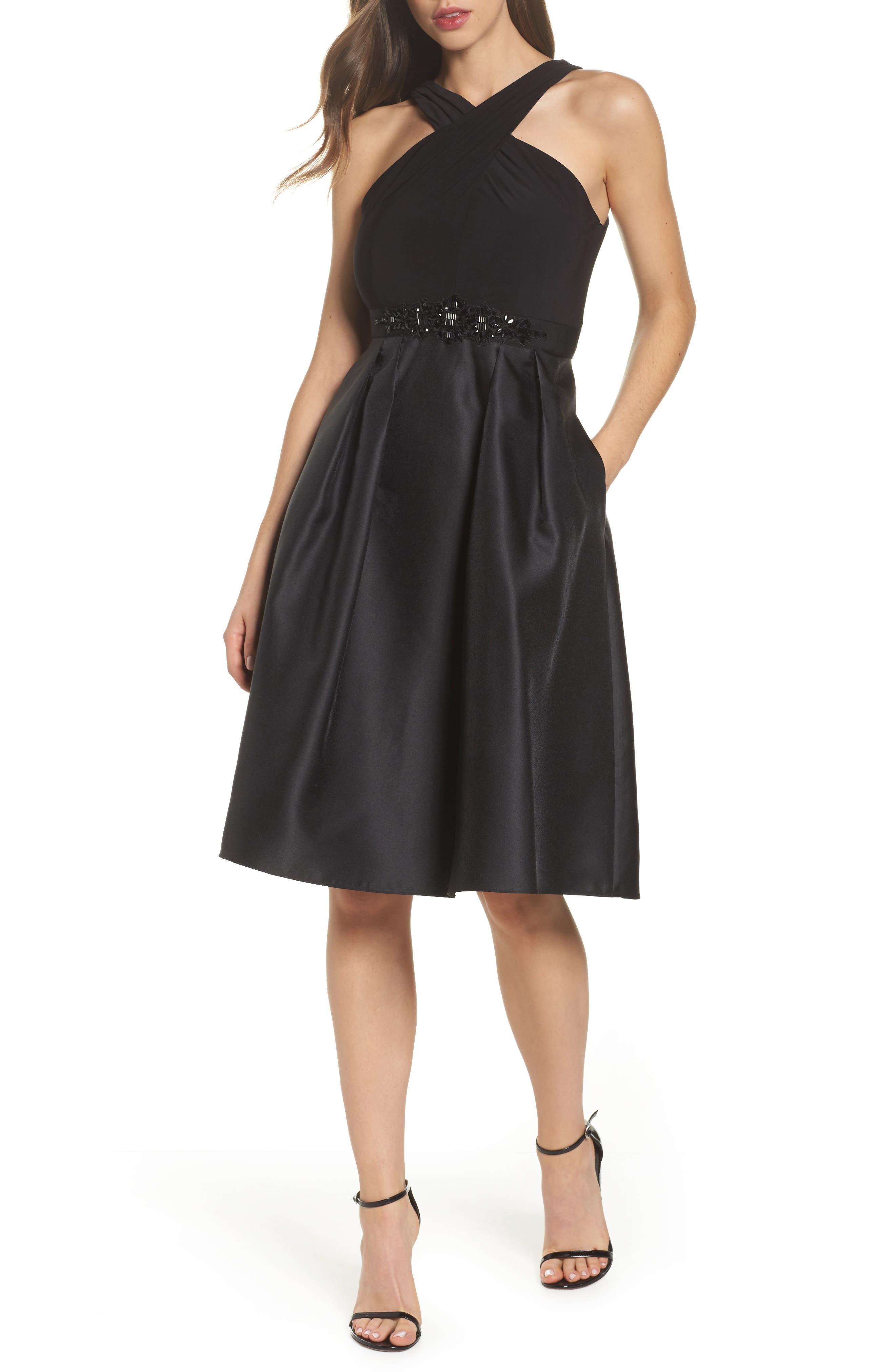 Embellished Jersey & Mikado Party Dress,                         Main,                         color, Black