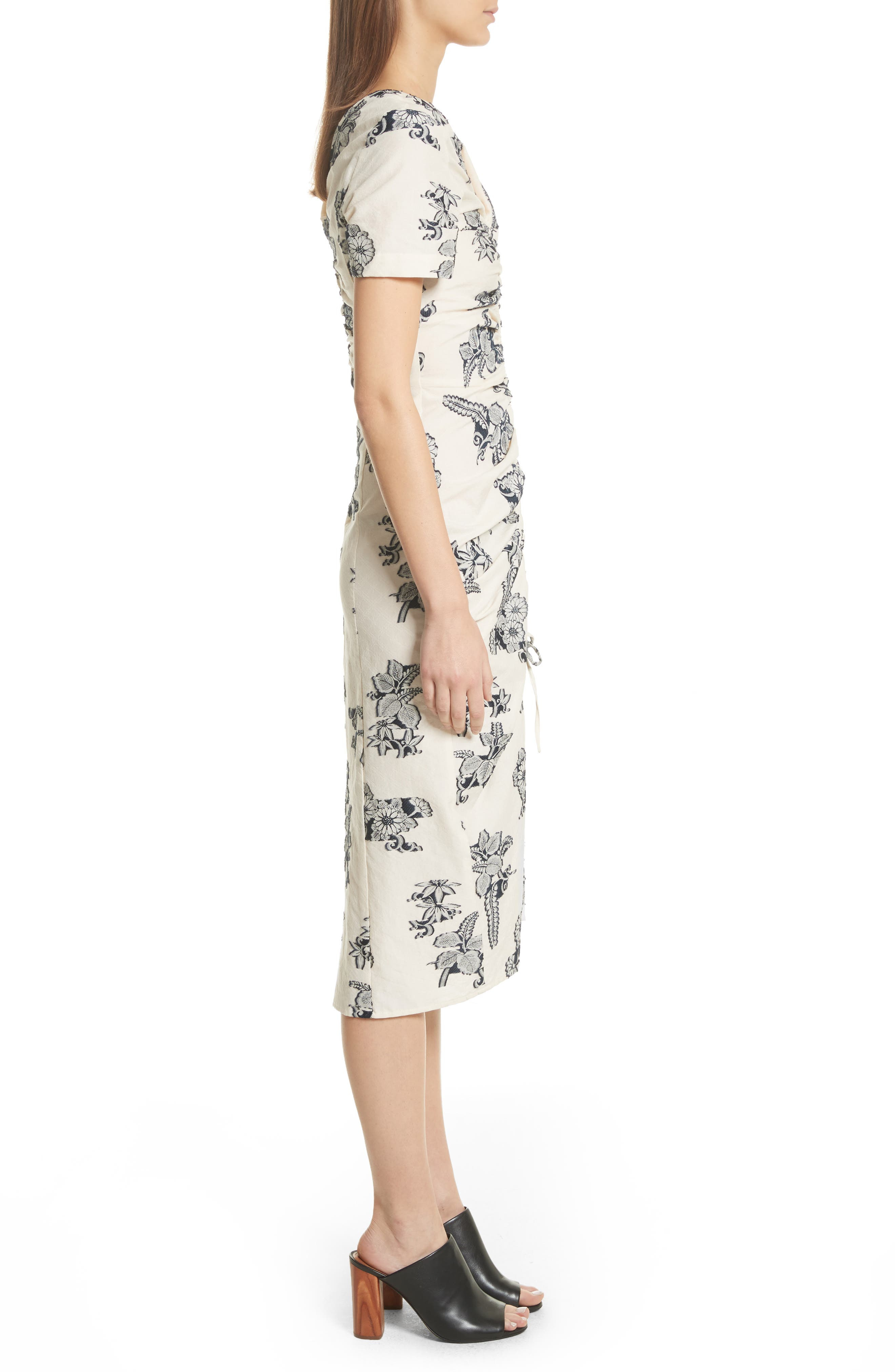 Josephine Floral Print Ruched Dress,                             Alternate thumbnail 3, color,                             Cream