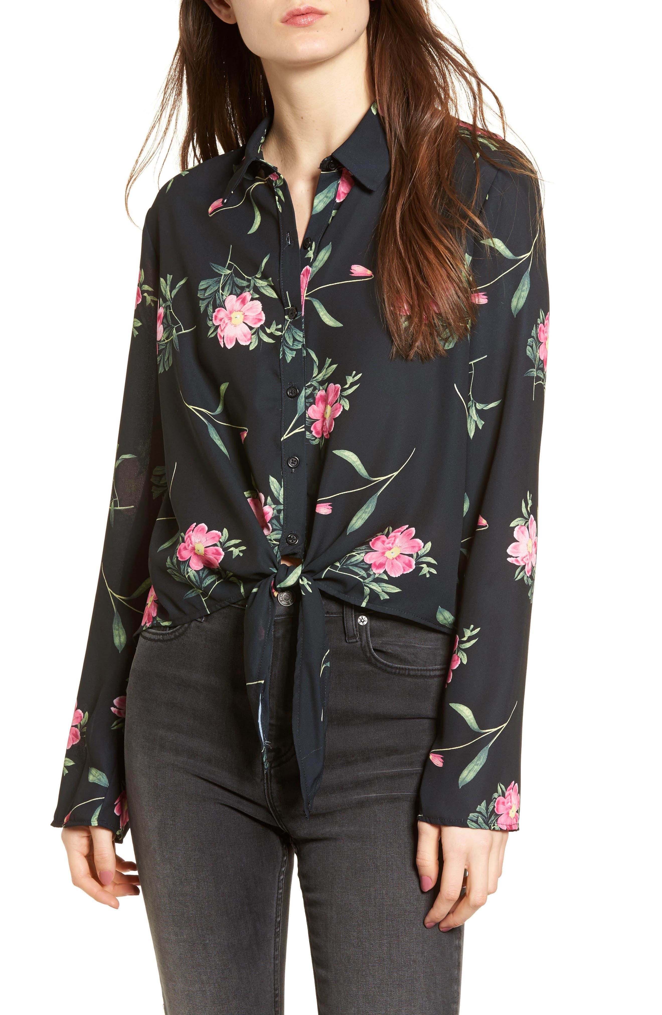 Tie Front Shirt,                         Main,                         color, Black Floral