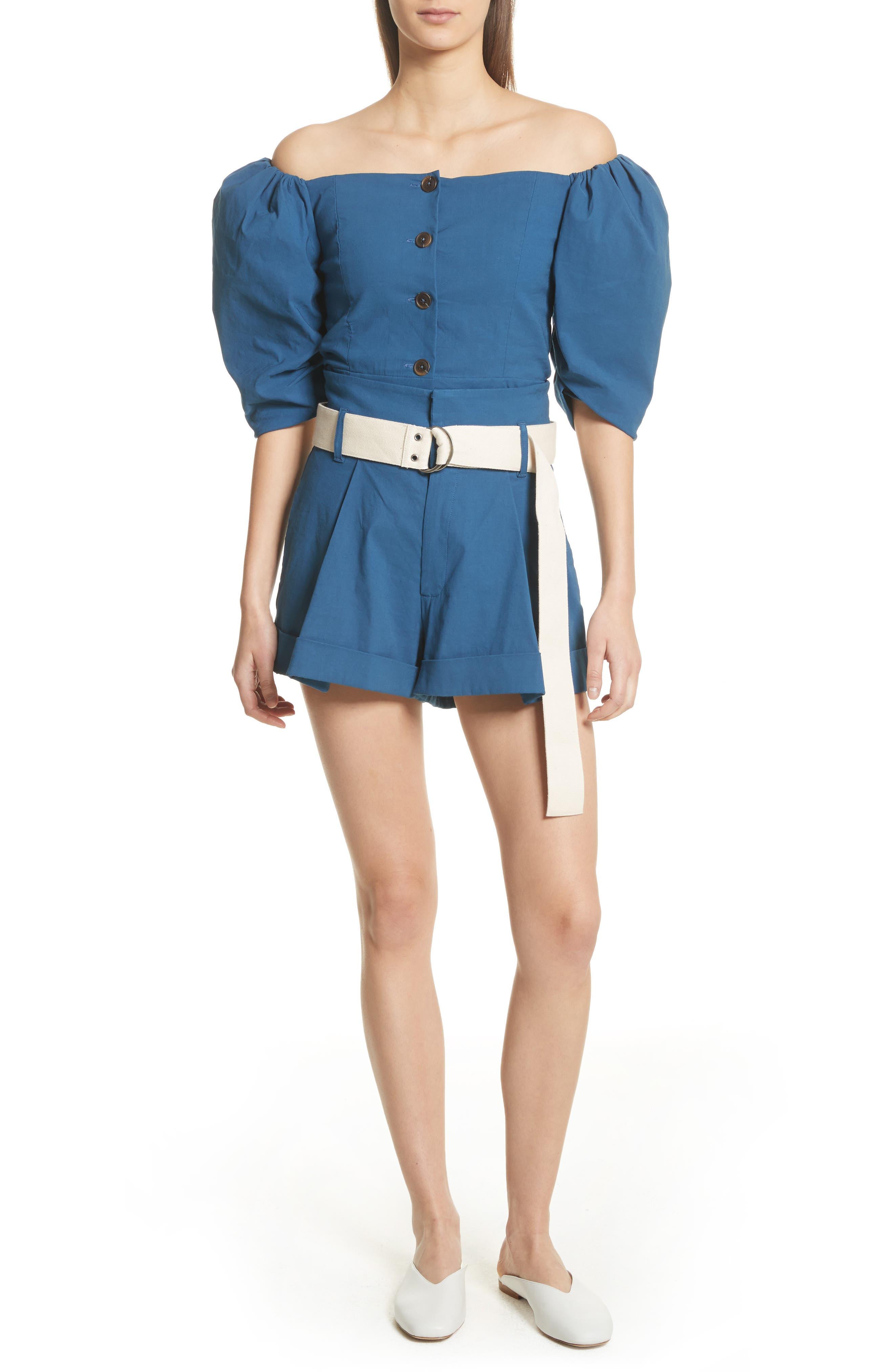 Poppy Belted Cotton & Linen Blend Shorts,                             Alternate thumbnail 7, color,                             Blue