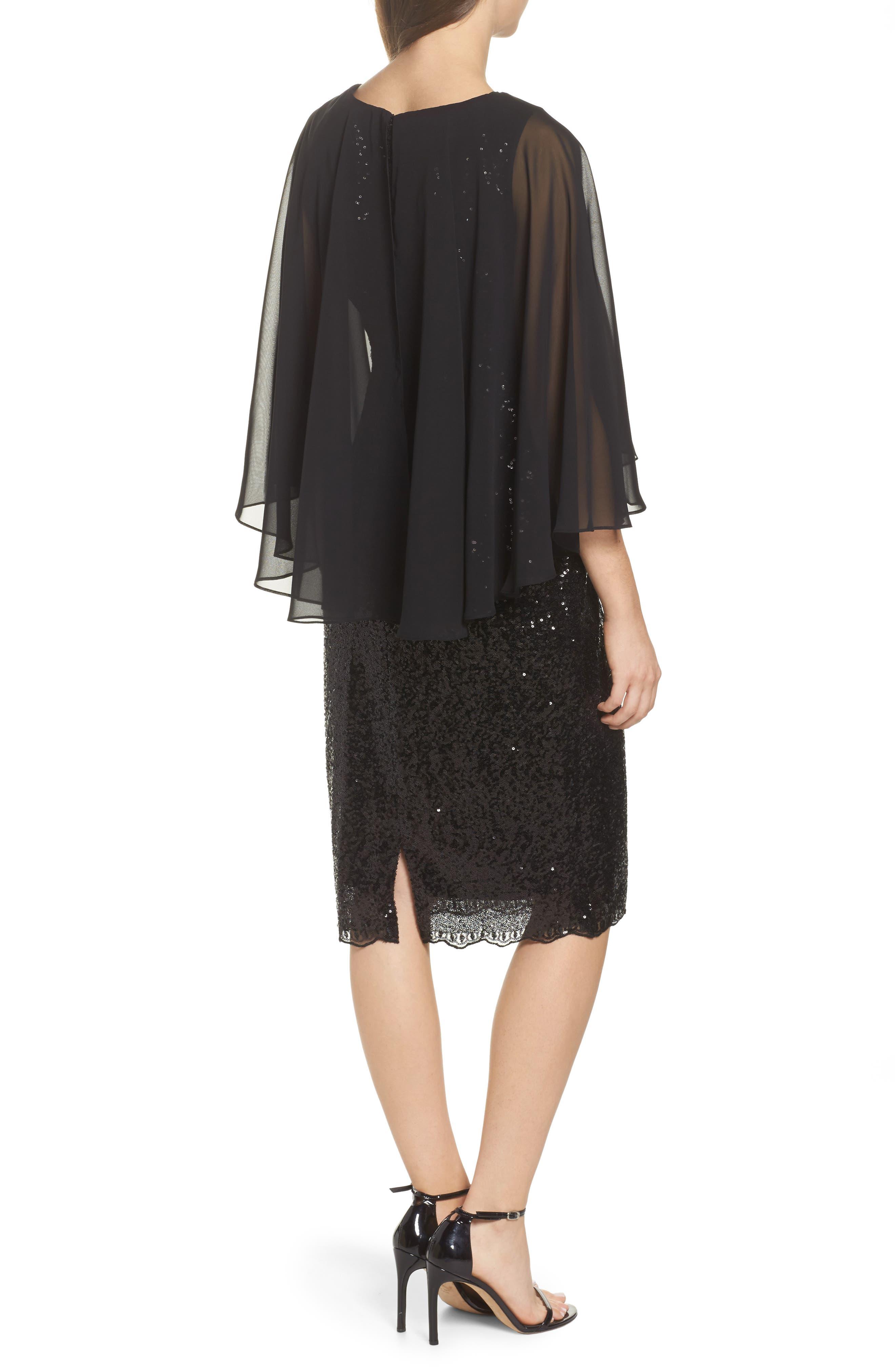 Capelet Sequin Shift Dress,                             Alternate thumbnail 2, color,                             Black