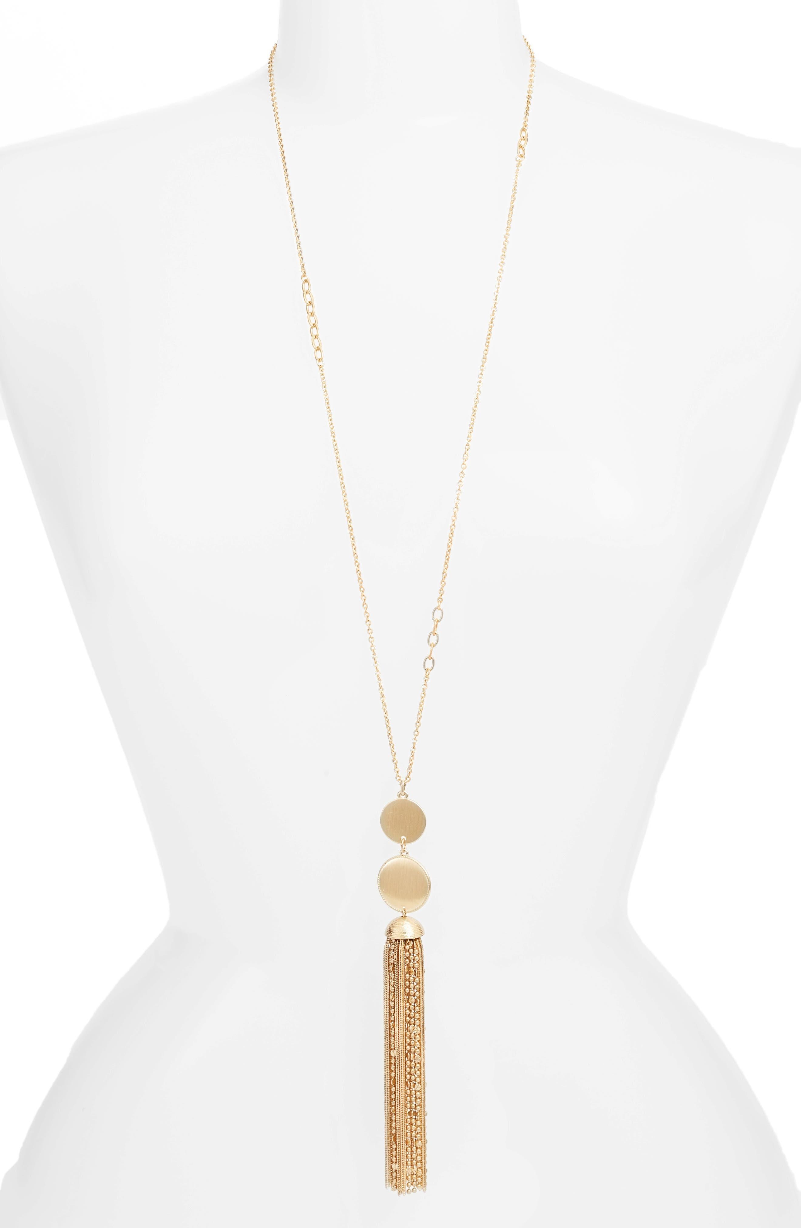 Treasure & Bond Double Circle Tassel Pendant Necklace
