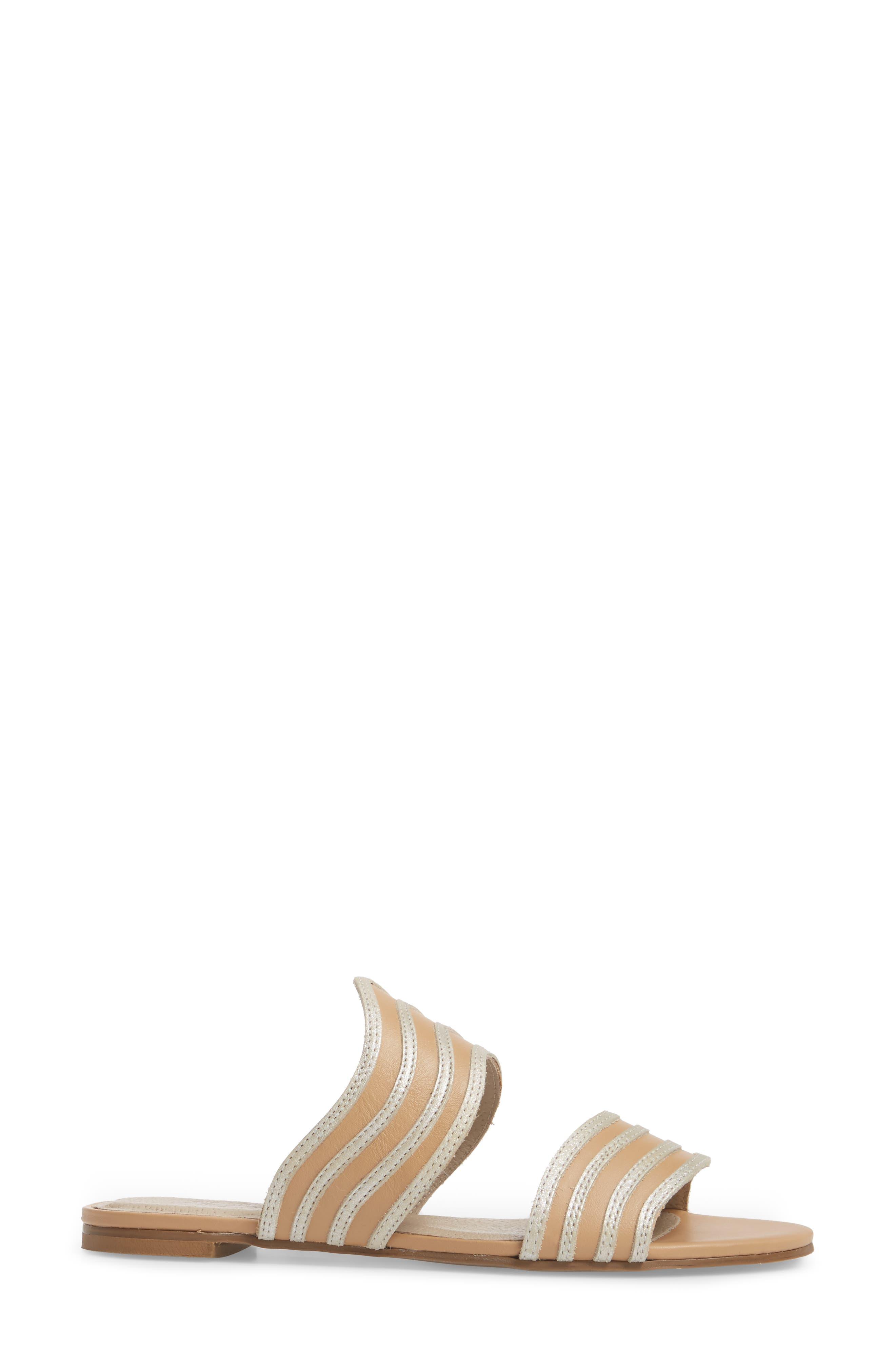 Russo Slide Sandal,                             Alternate thumbnail 3, color,                             Natural/ Silver Leather