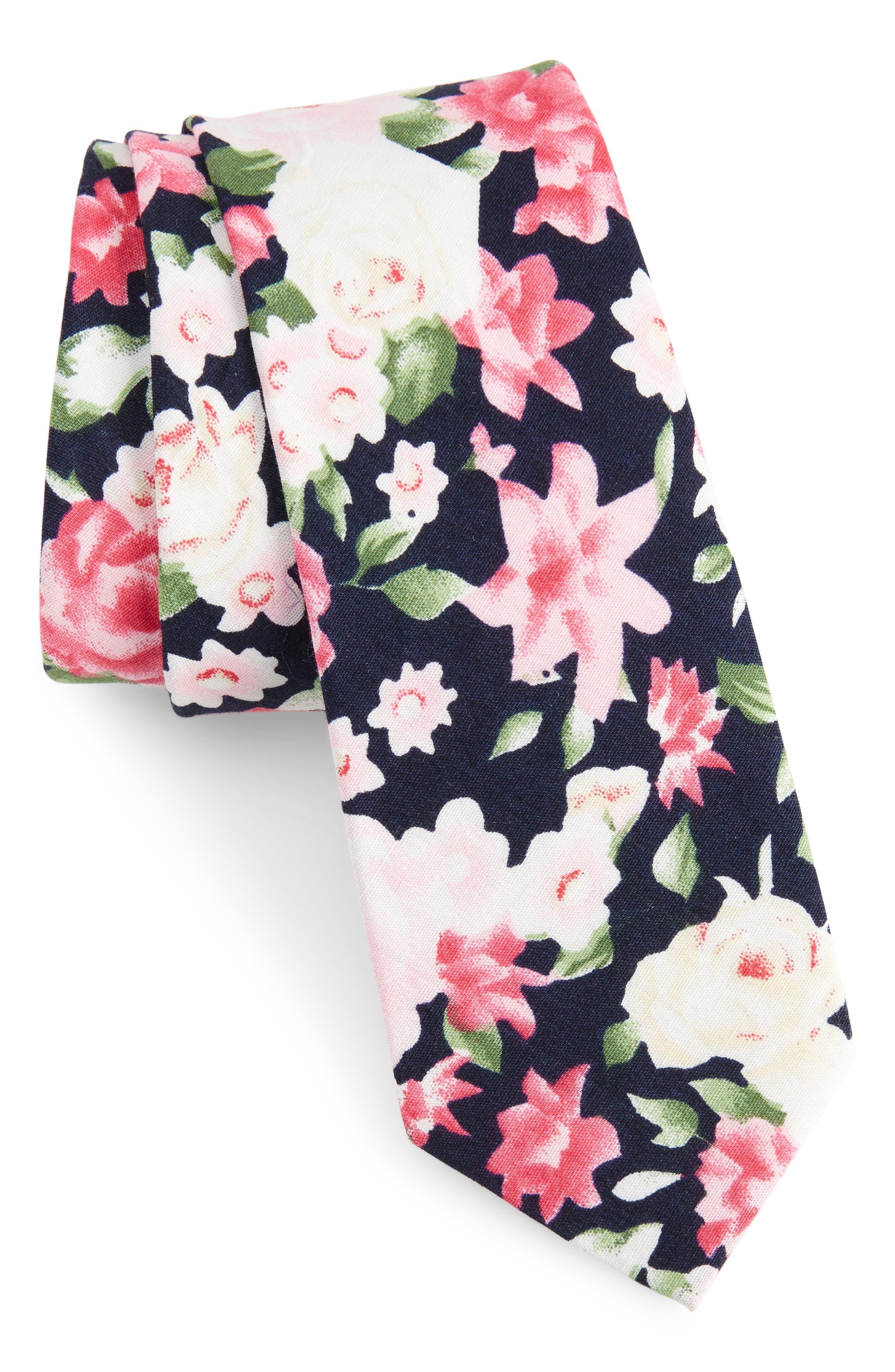 Alternate Image 1 Selected - 1901 Colbert Floral Cotton Skinny Tie