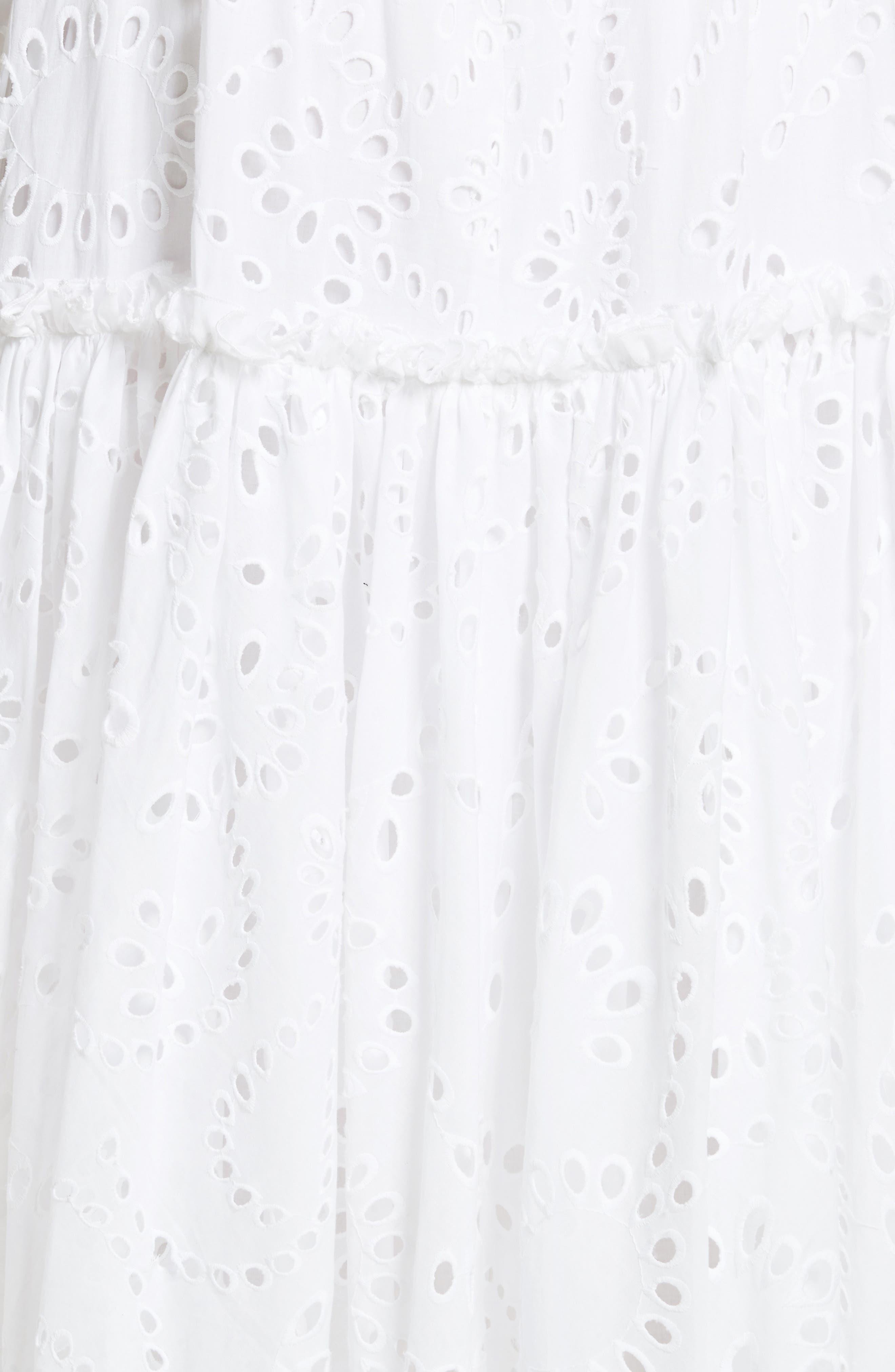 Prose & Poetry Kerr Eyelet Peasant Midi Dress,                             Alternate thumbnail 5, color,                             Cloud White