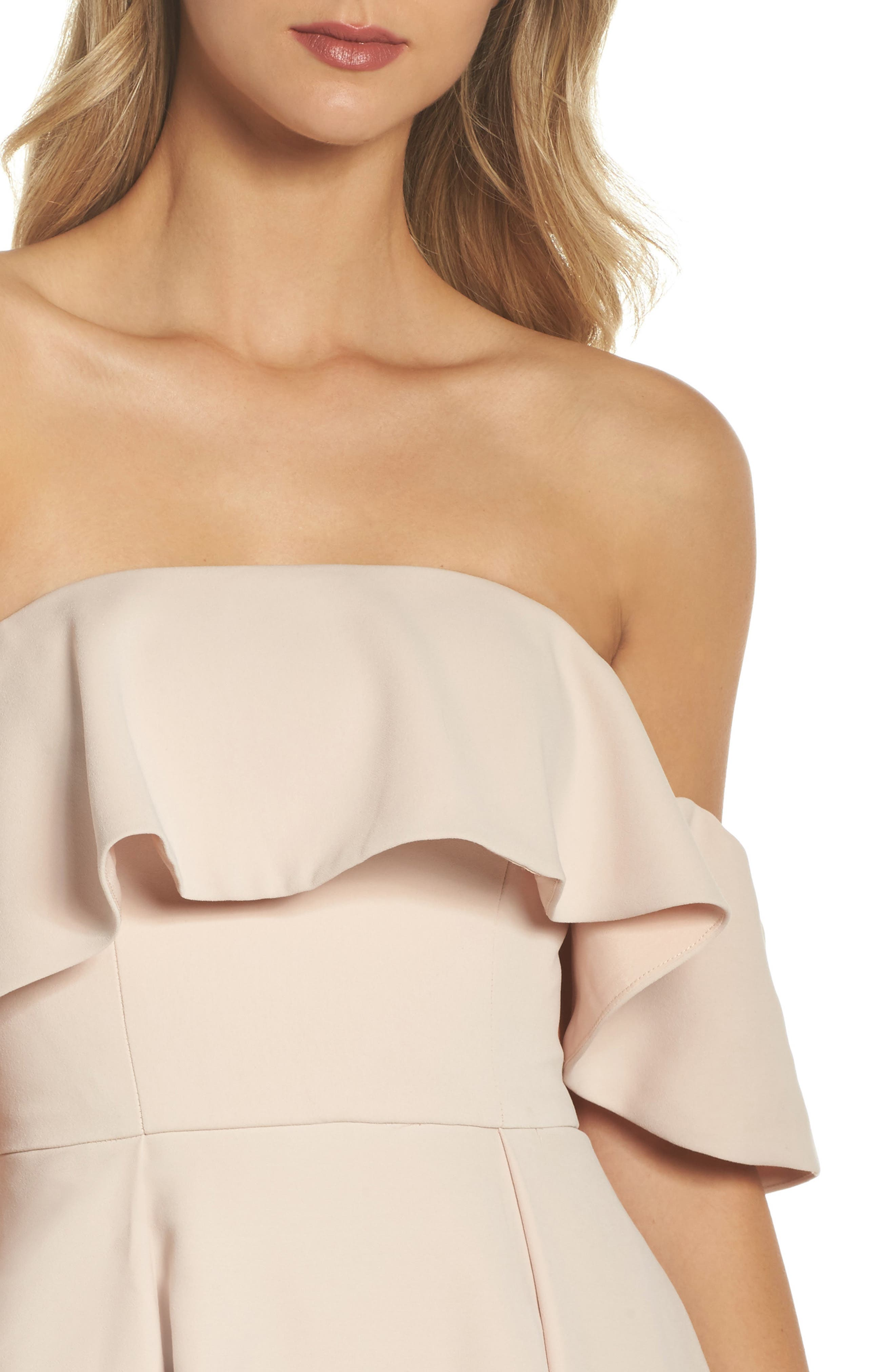 Temptation Off the Shoulder Ballgown,                             Alternate thumbnail 5, color,                             Blush