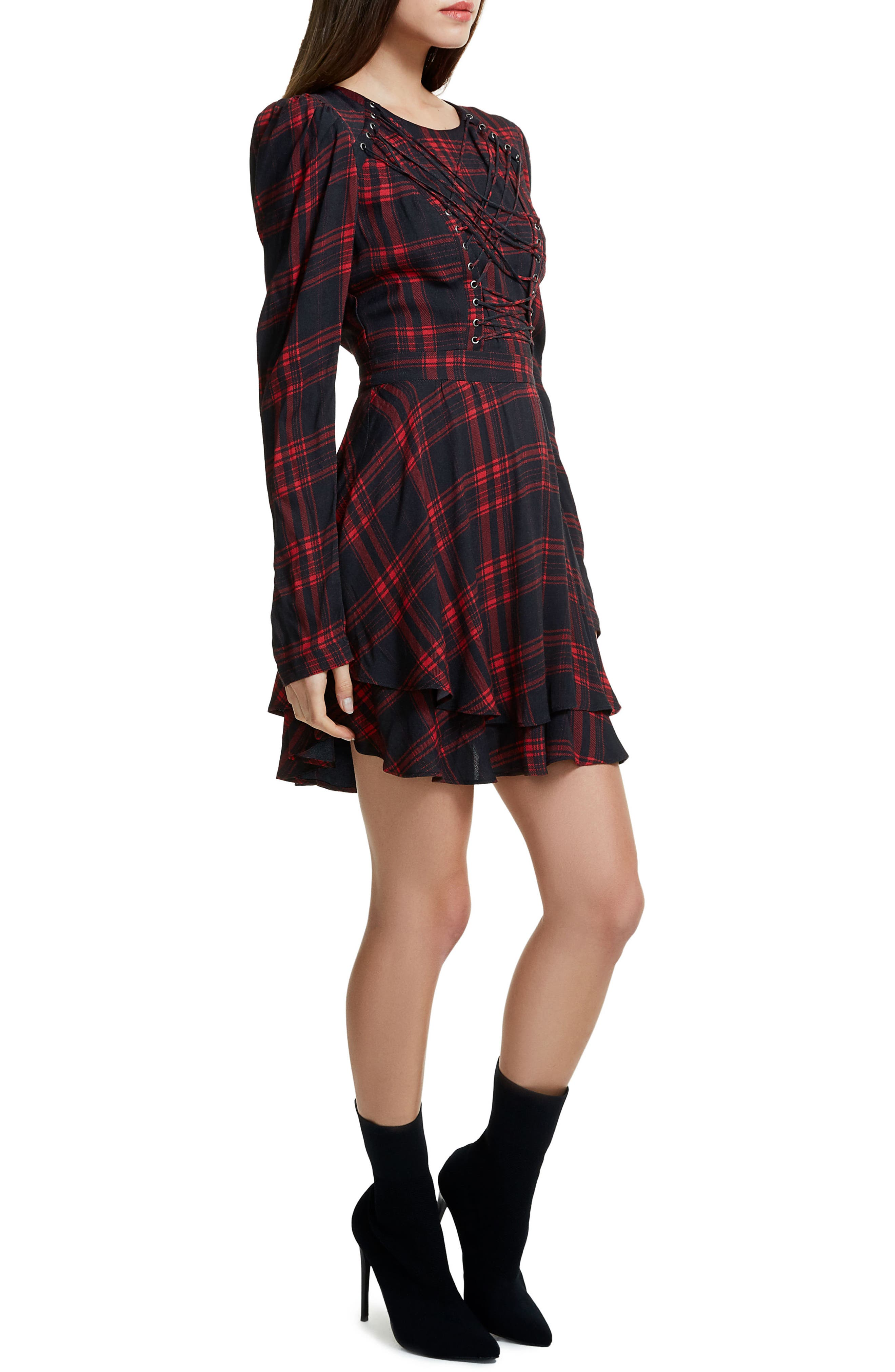 Avery Strappy Babydoll Dress,                             Alternate thumbnail 4, color,                             Plaid