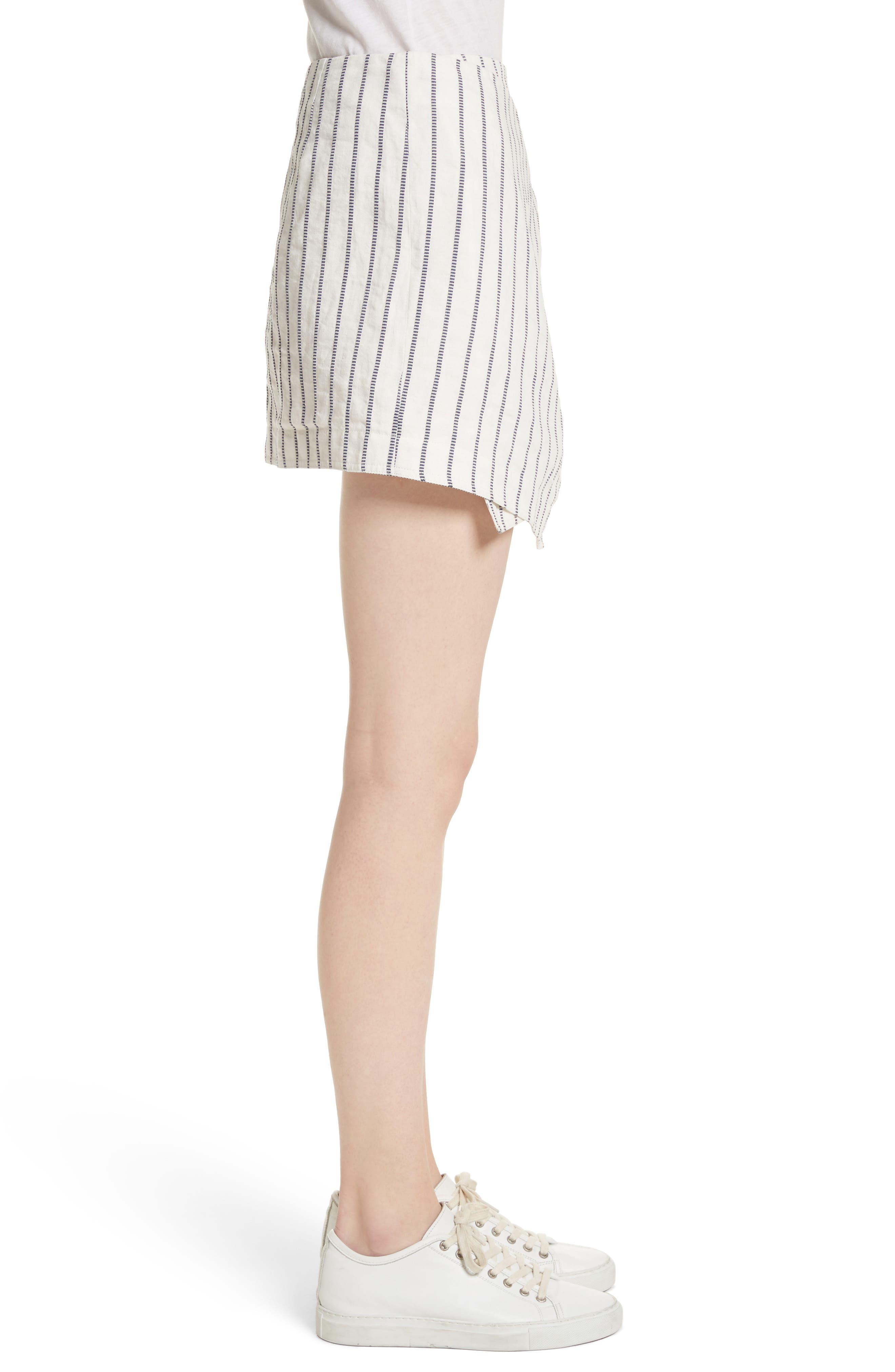Tie Wrap Stripe Miniskirt,                             Alternate thumbnail 3, color,                             Blue/ Ivory