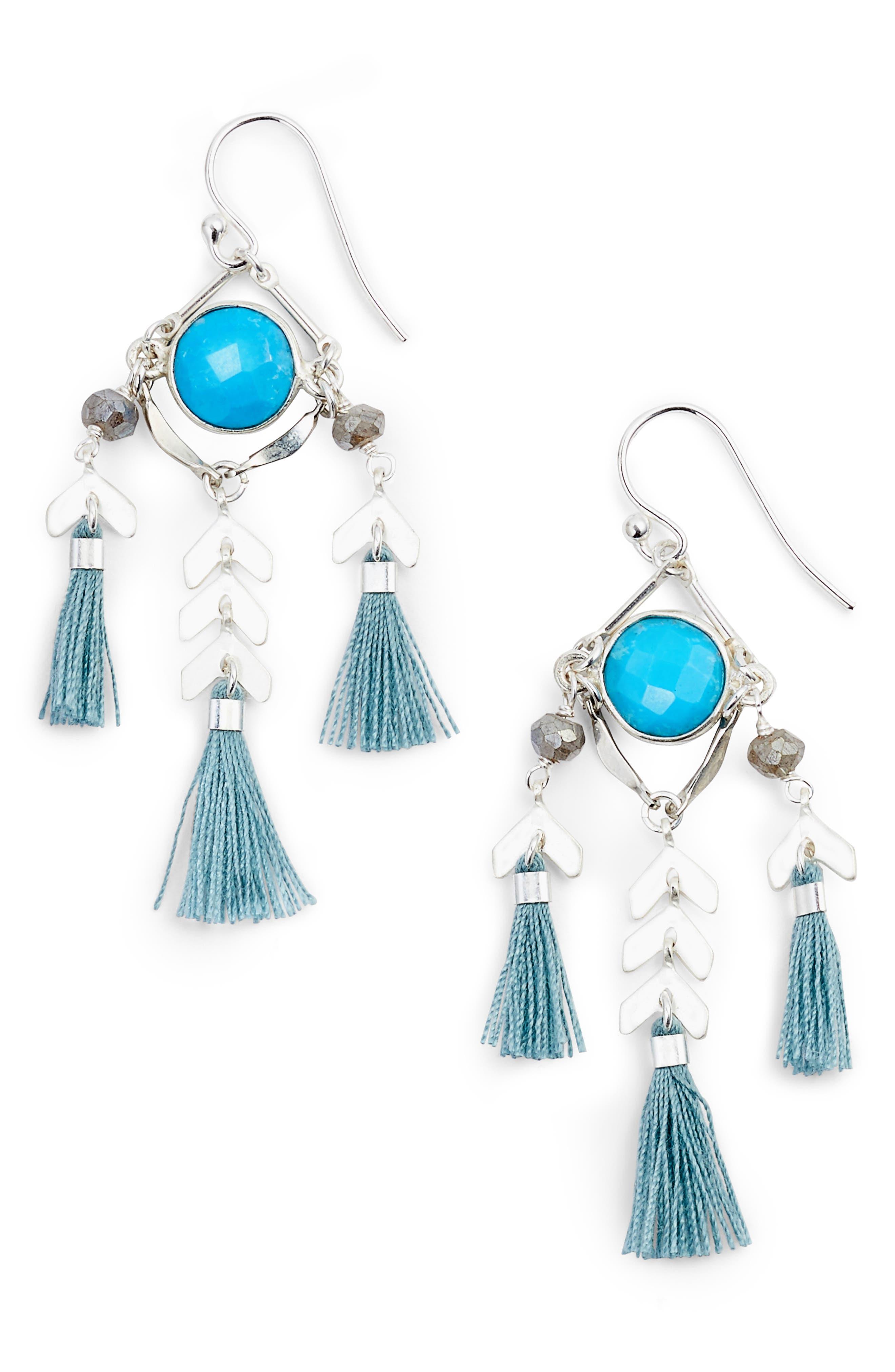 Tassel Drop Earrings,                             Main thumbnail 1, color,                             Turquoise