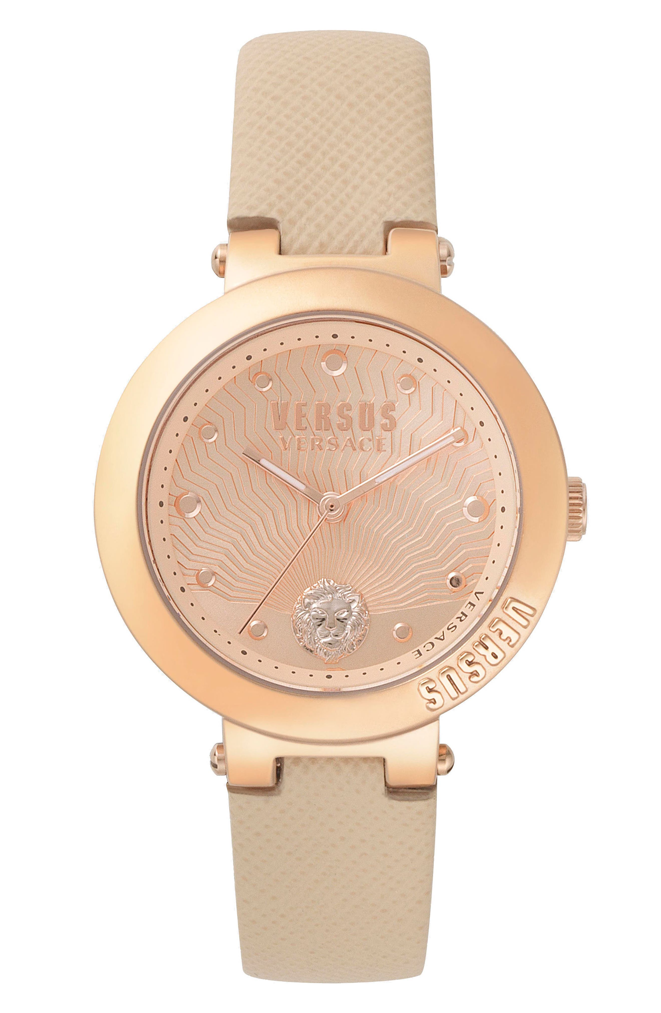 VERSUS by Versace Lantau Island Leather Strap Watch, 36mm,                             Main thumbnail 1, color,                             Rose Gold