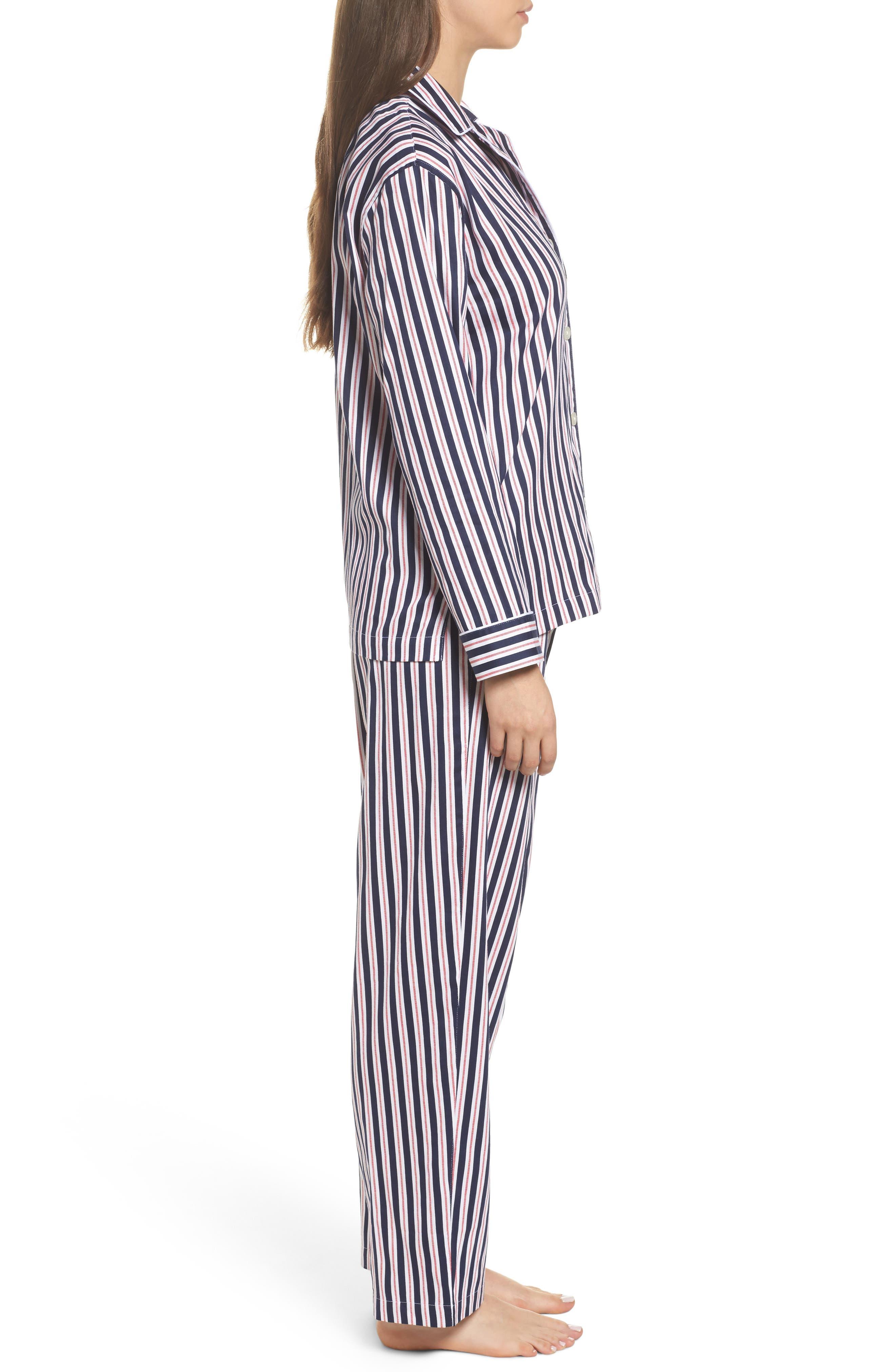 Sateen Pajamas,                             Alternate thumbnail 3, color,                             Navy Stripe