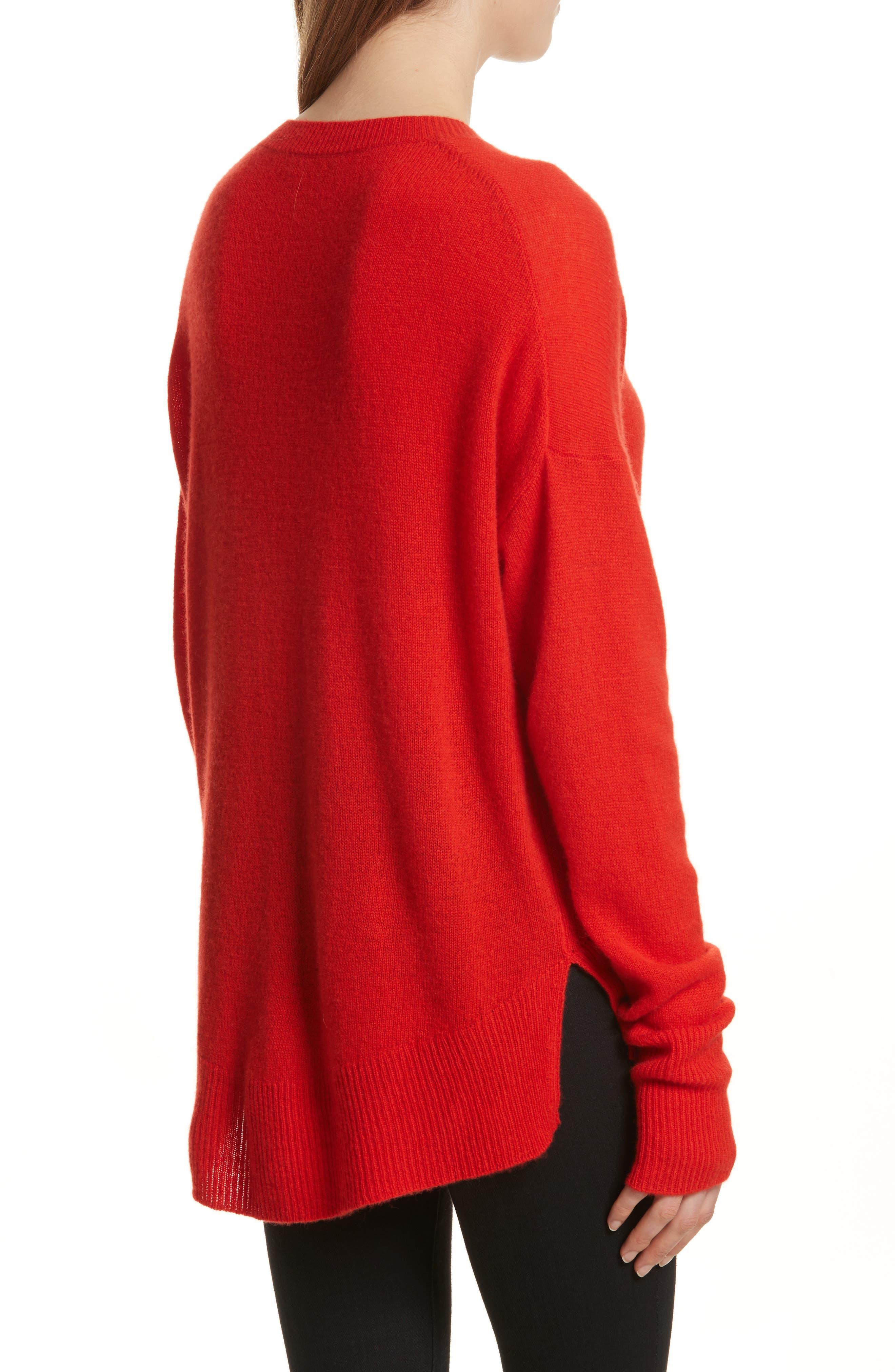 Karenia L Cashmere Sweater,                             Alternate thumbnail 2, color,                             Bight Tomato
