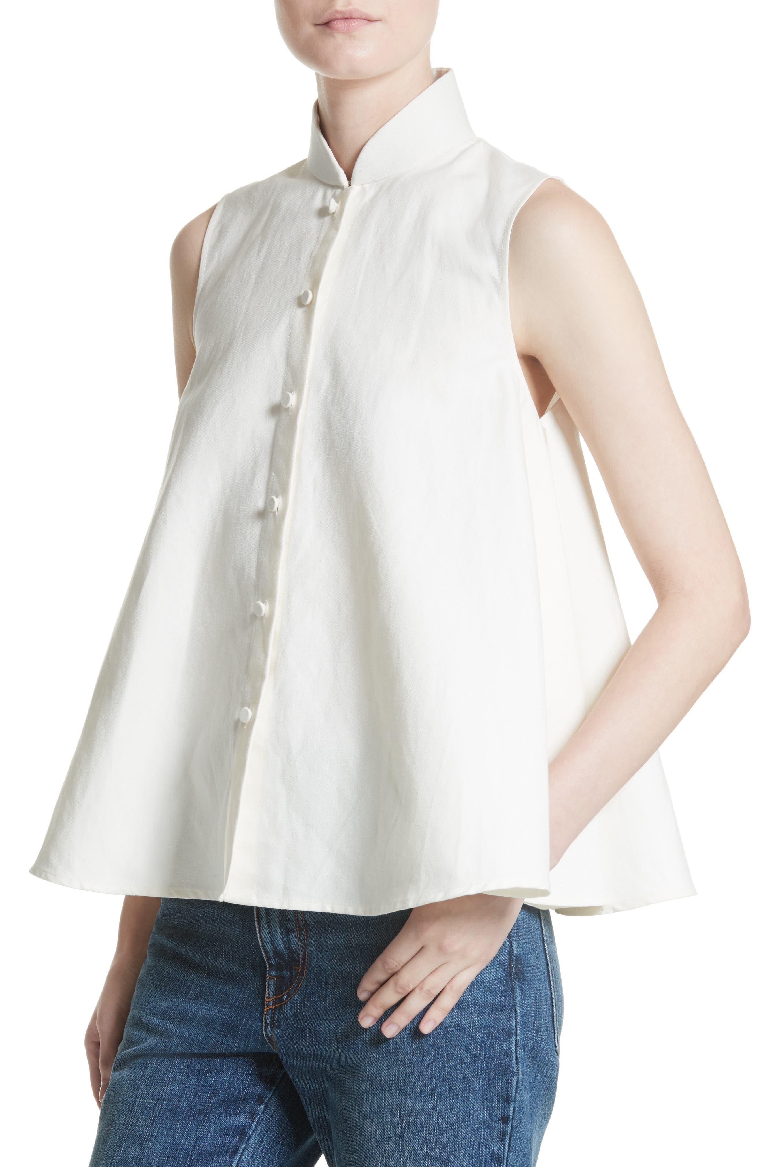 Linen & Cotton Swing Top,                             Alternate thumbnail 3, color,                             Ivory