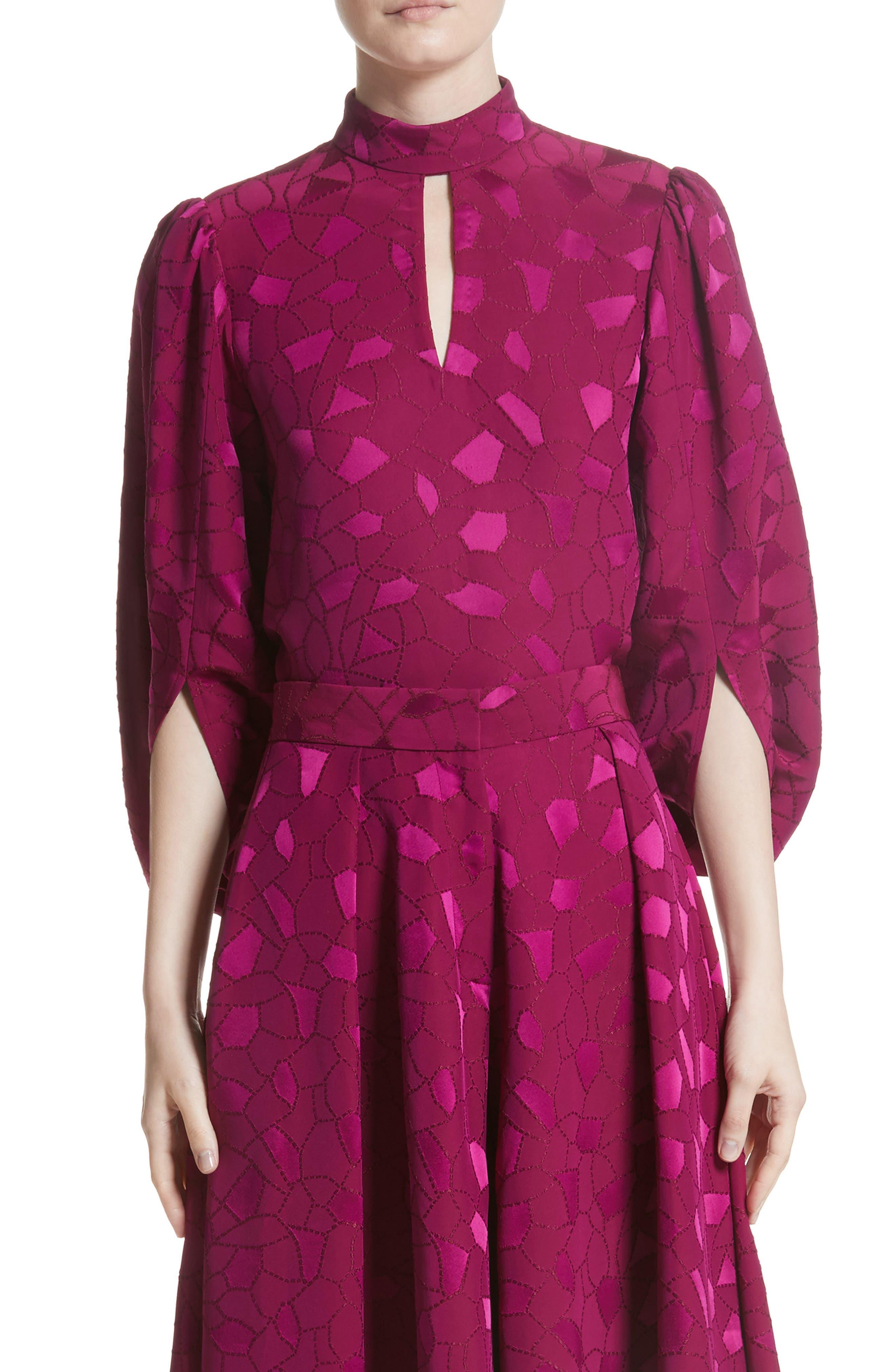 Mosaic Jacquard Puff Sleeve Blouse,                         Main,                         color, Pink