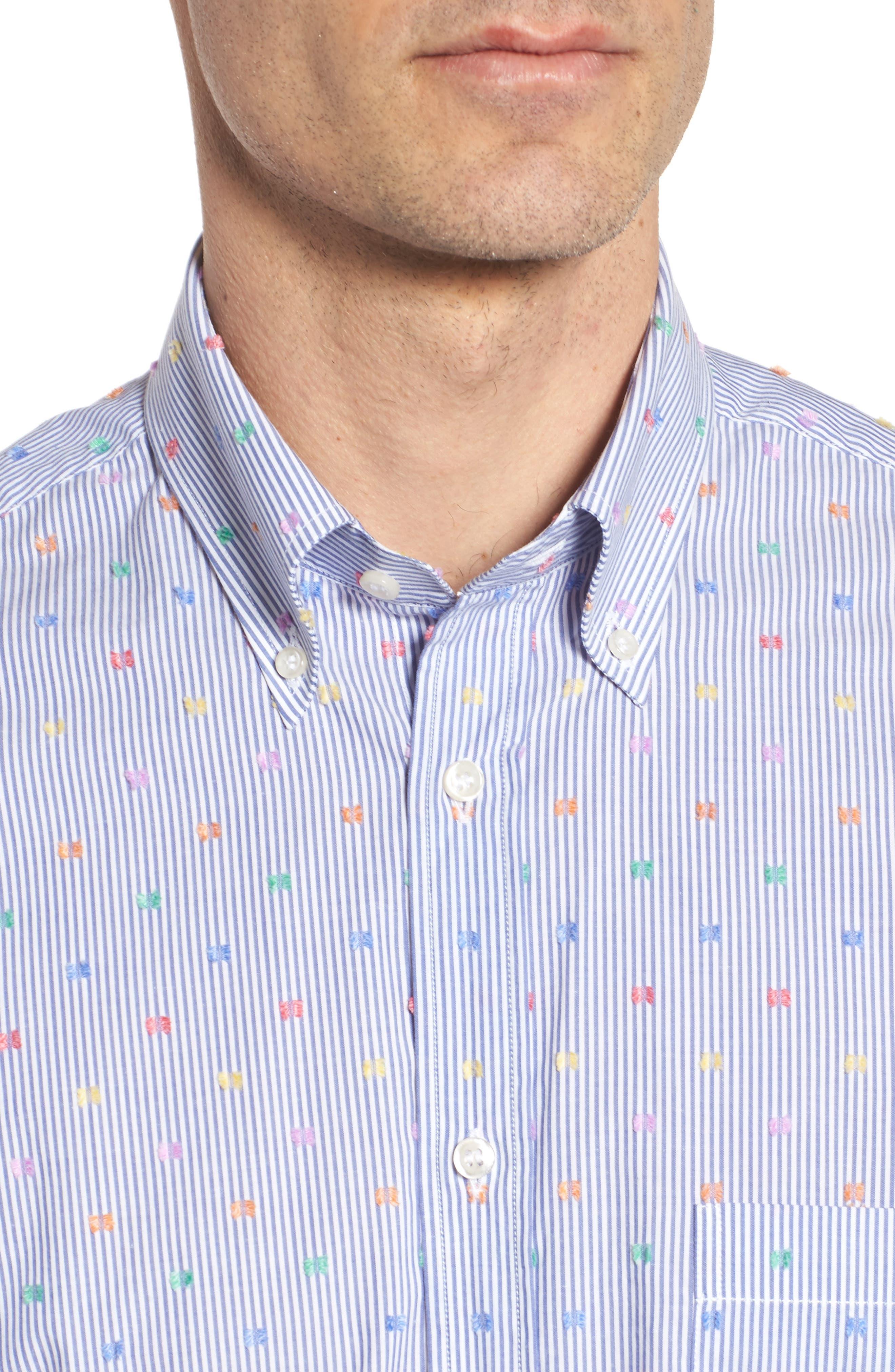 Paul&Shark Fin Stripe Sport Shirt,                             Alternate thumbnail 4, color,                             Blue/ White/ Multi
