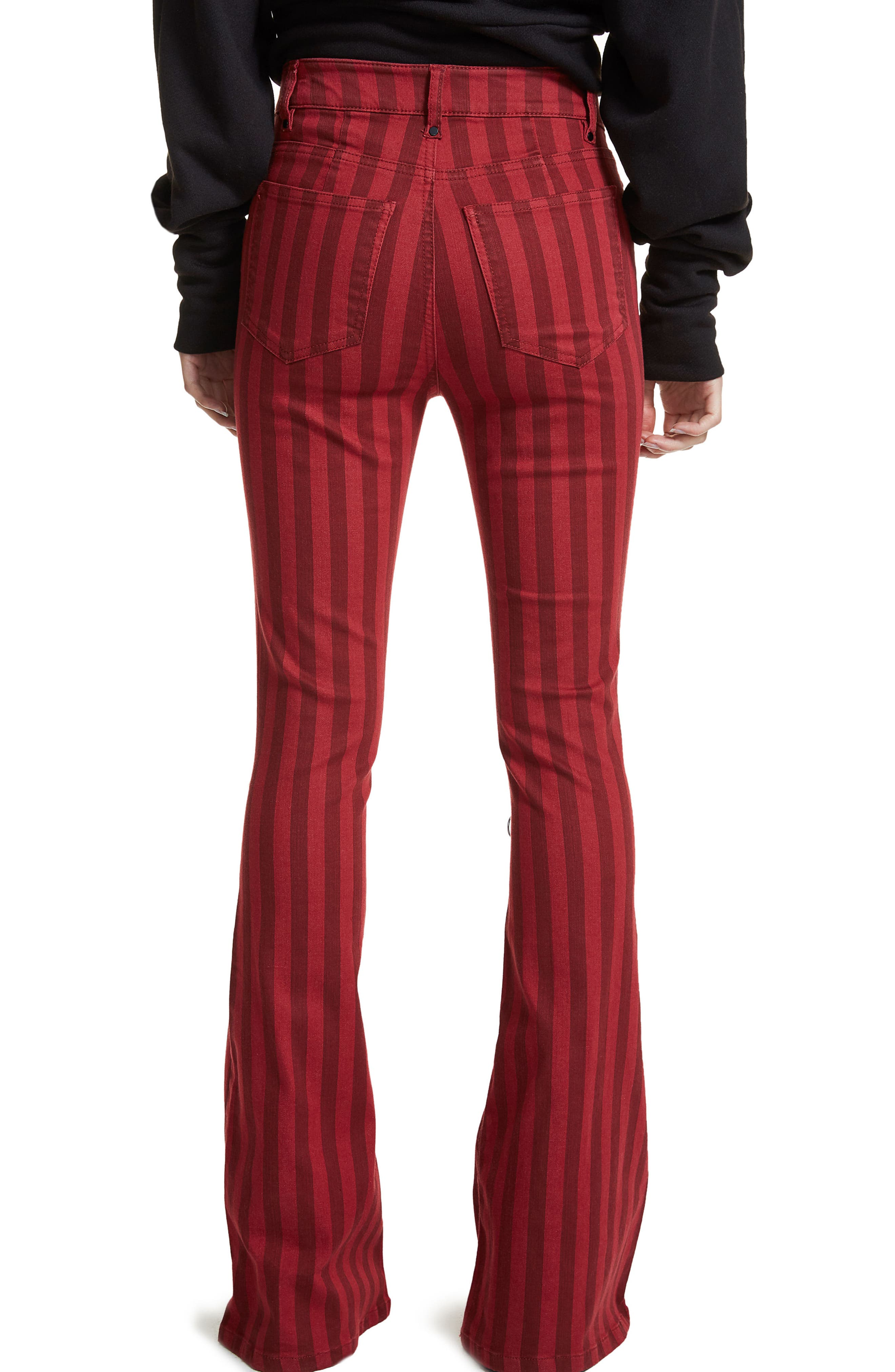 Alternate Image 3  - AFRM Claire Lace-Up Flare Leg Jeans (Red Stripe)