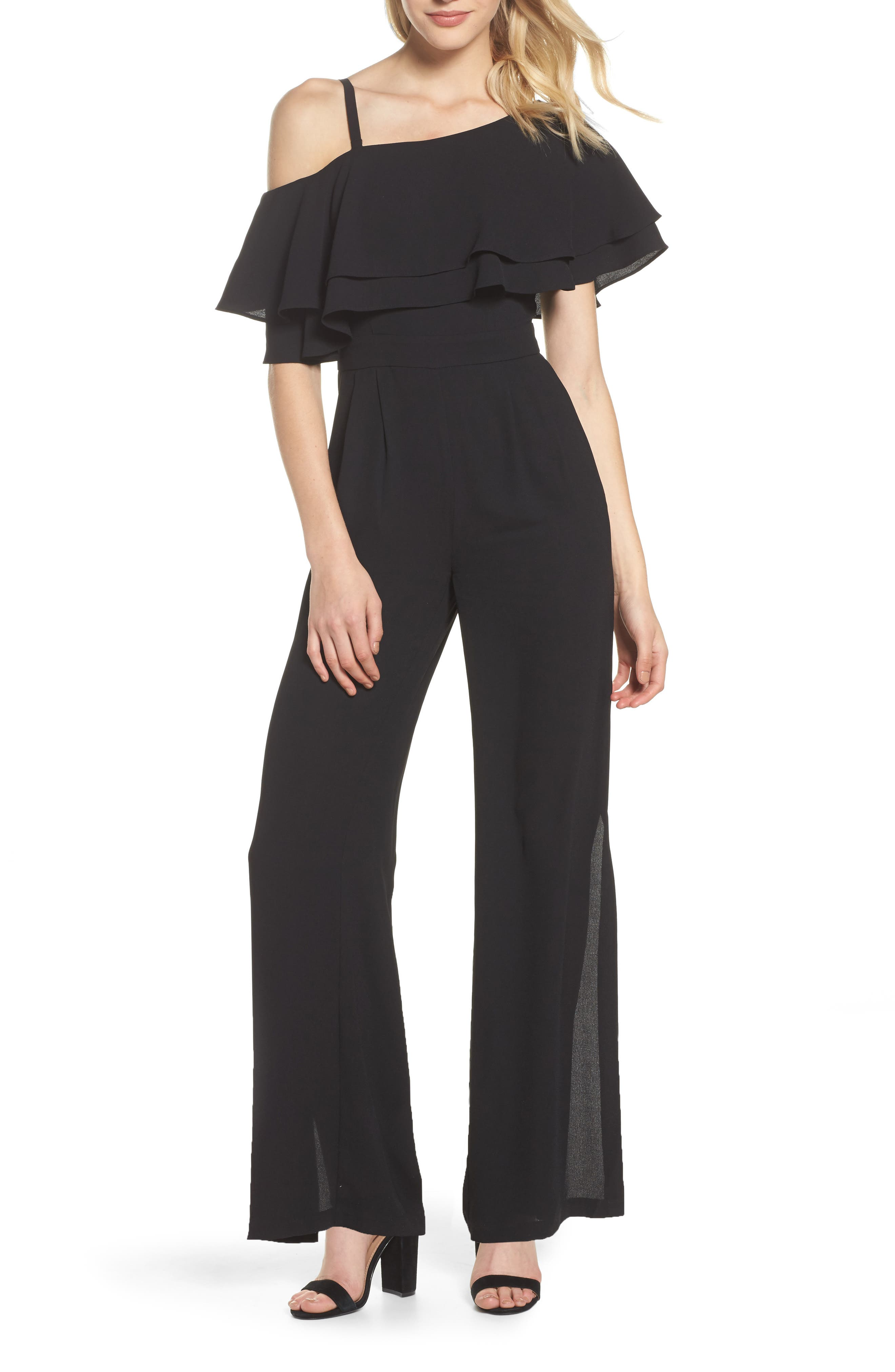 Moss One-Shoulder Jumpsuit,                         Main,                         color, Black