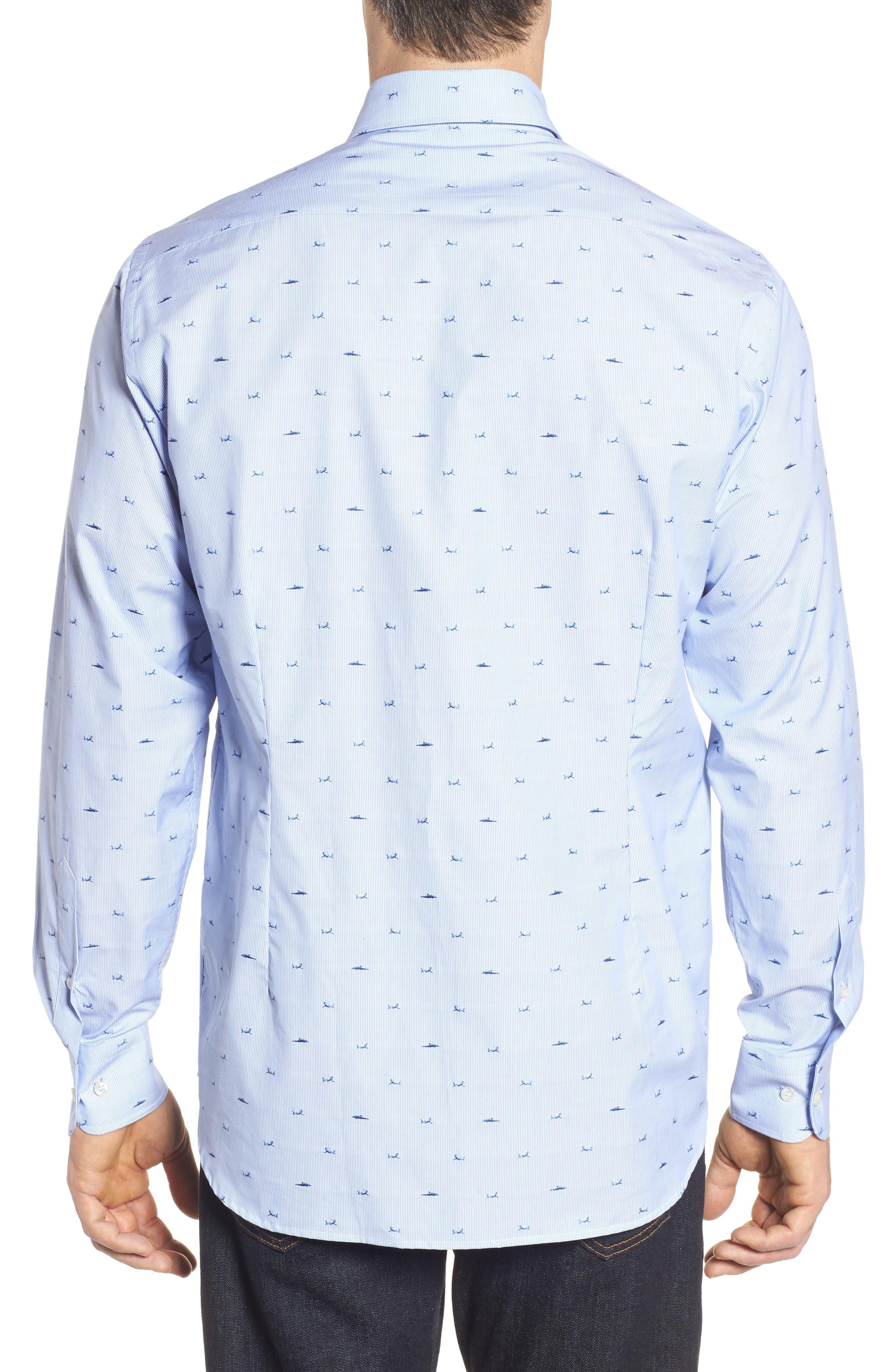 Paul&Shark Great White Jacquard Sport Shirt,                             Alternate thumbnail 3, color,                             Blue