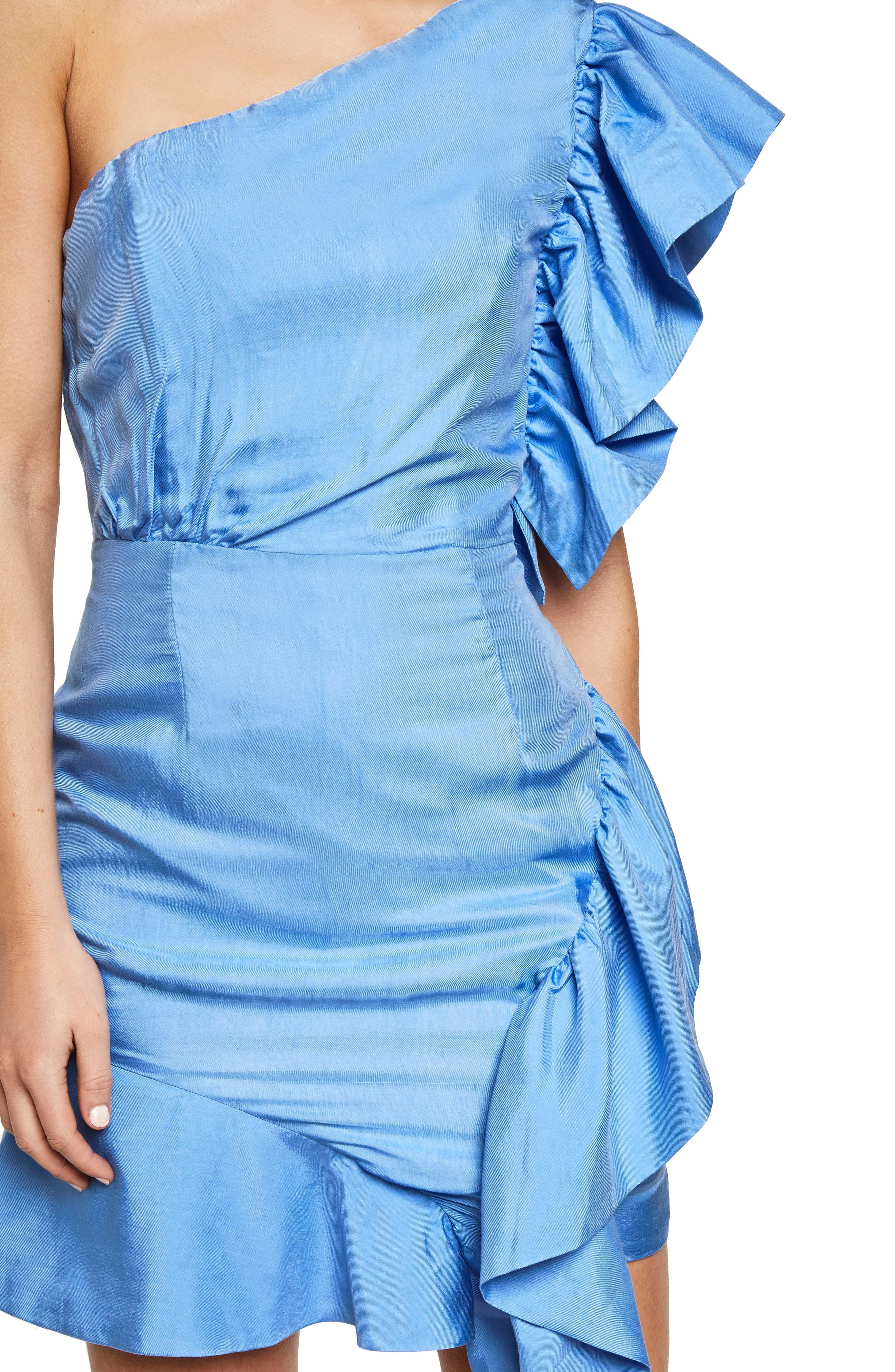Lucia Frill One-Shoulder Dress,                             Alternate thumbnail 4, color,                             Marina Blue