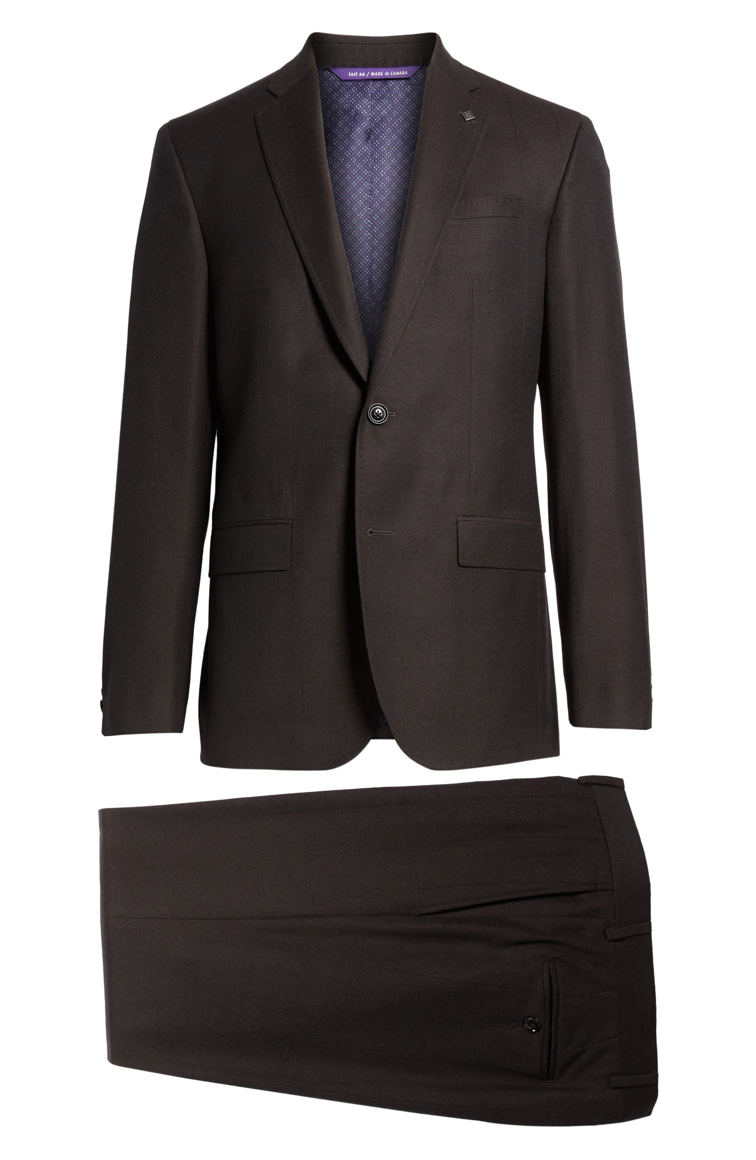 Jay Trim Fit Solid Wool Suit,                             Alternate thumbnail 8, color,                             Brown