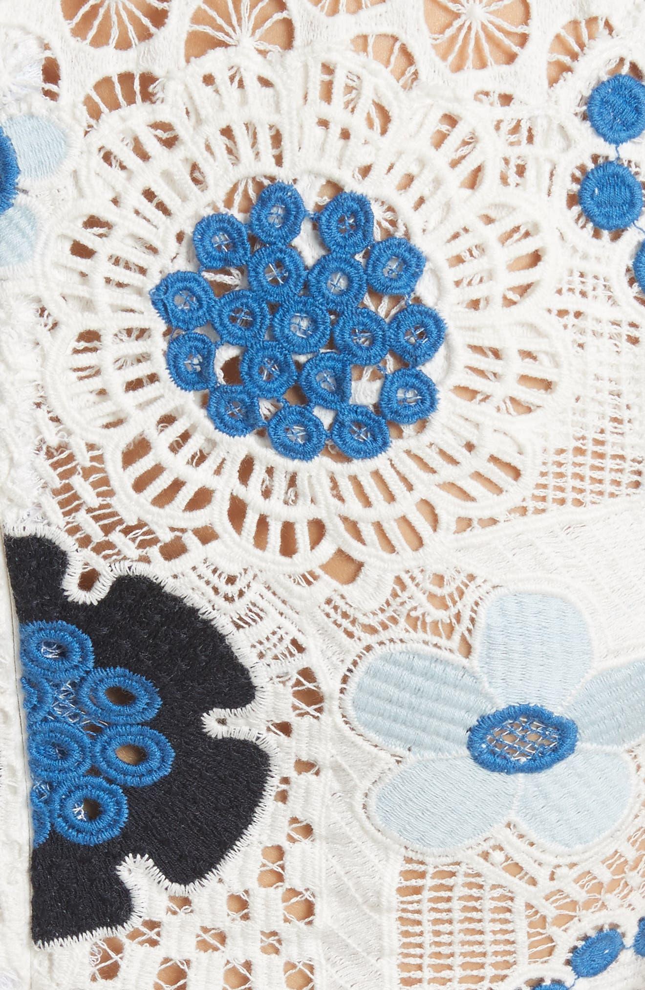 Figgy Crochet Dress,                             Alternate thumbnail 5, color,                             Cream/ Blue Multi