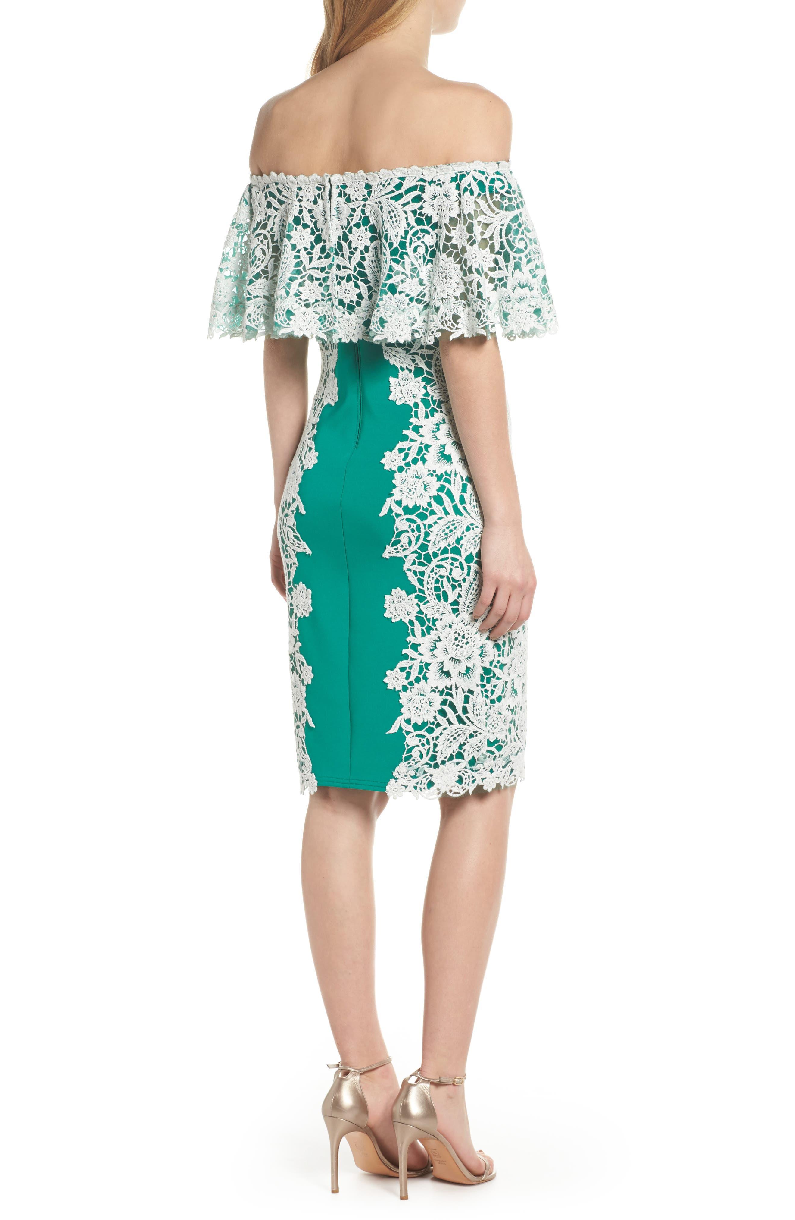 Alternate Image 2  - Tadashi Shoji Off the Shoulder Crochet & Neoprene Dress