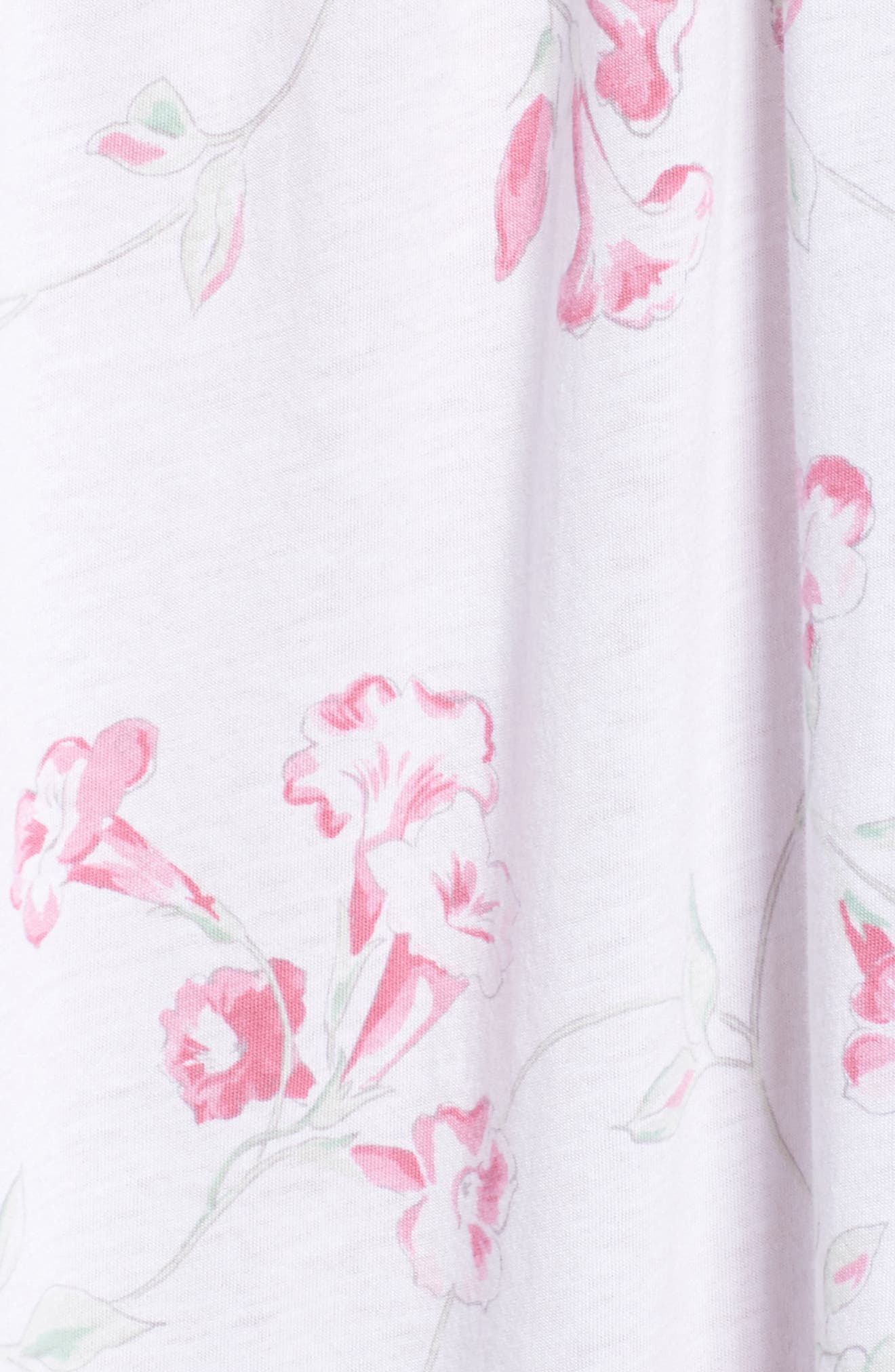 Floral Print Nightgown,                             Alternate thumbnail 6, color,                             White Floral Scroll