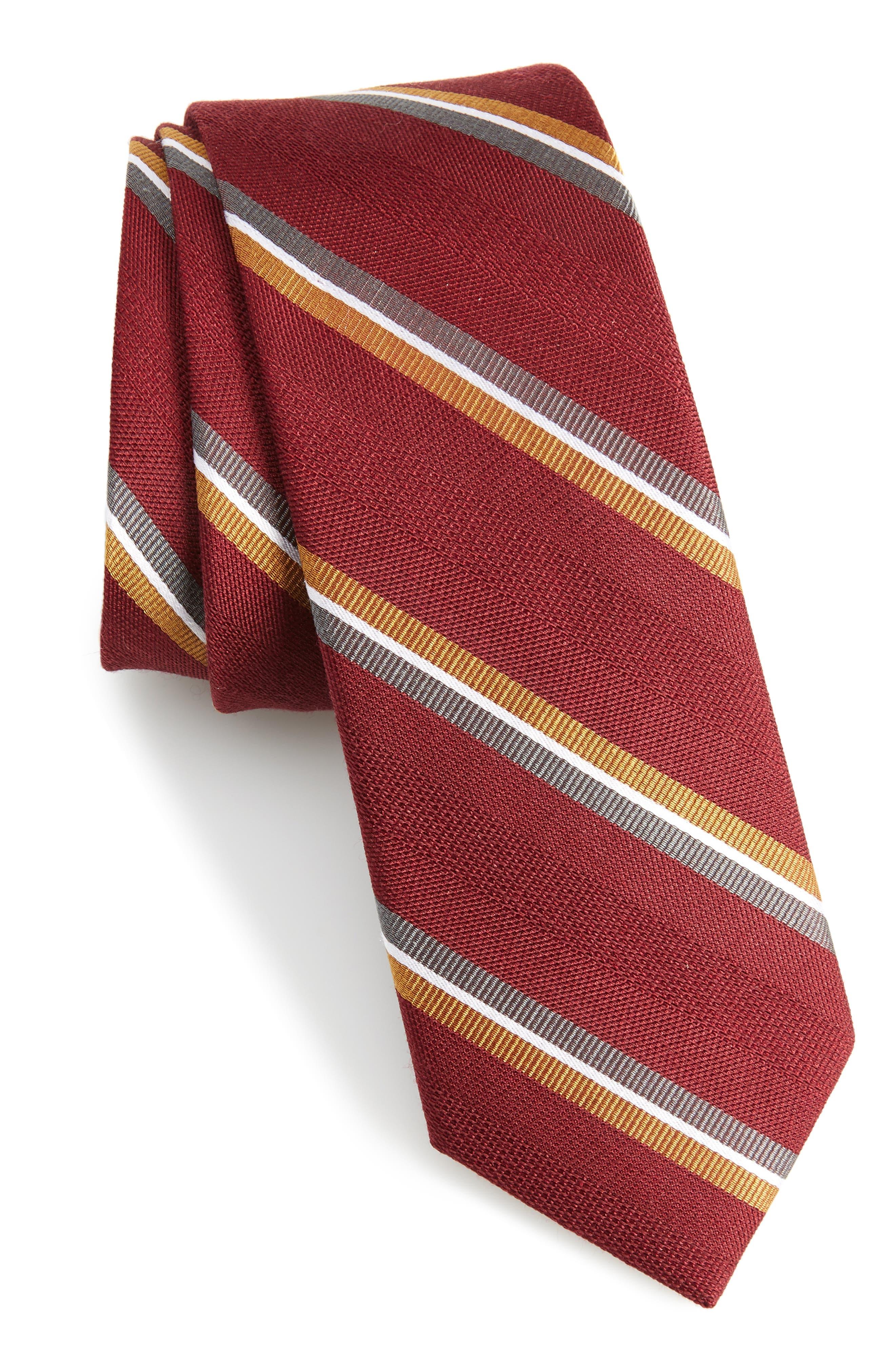 Short Cut Stripe Silk & Wool Skinny Tie,                         Main,                         color, Burgundy
