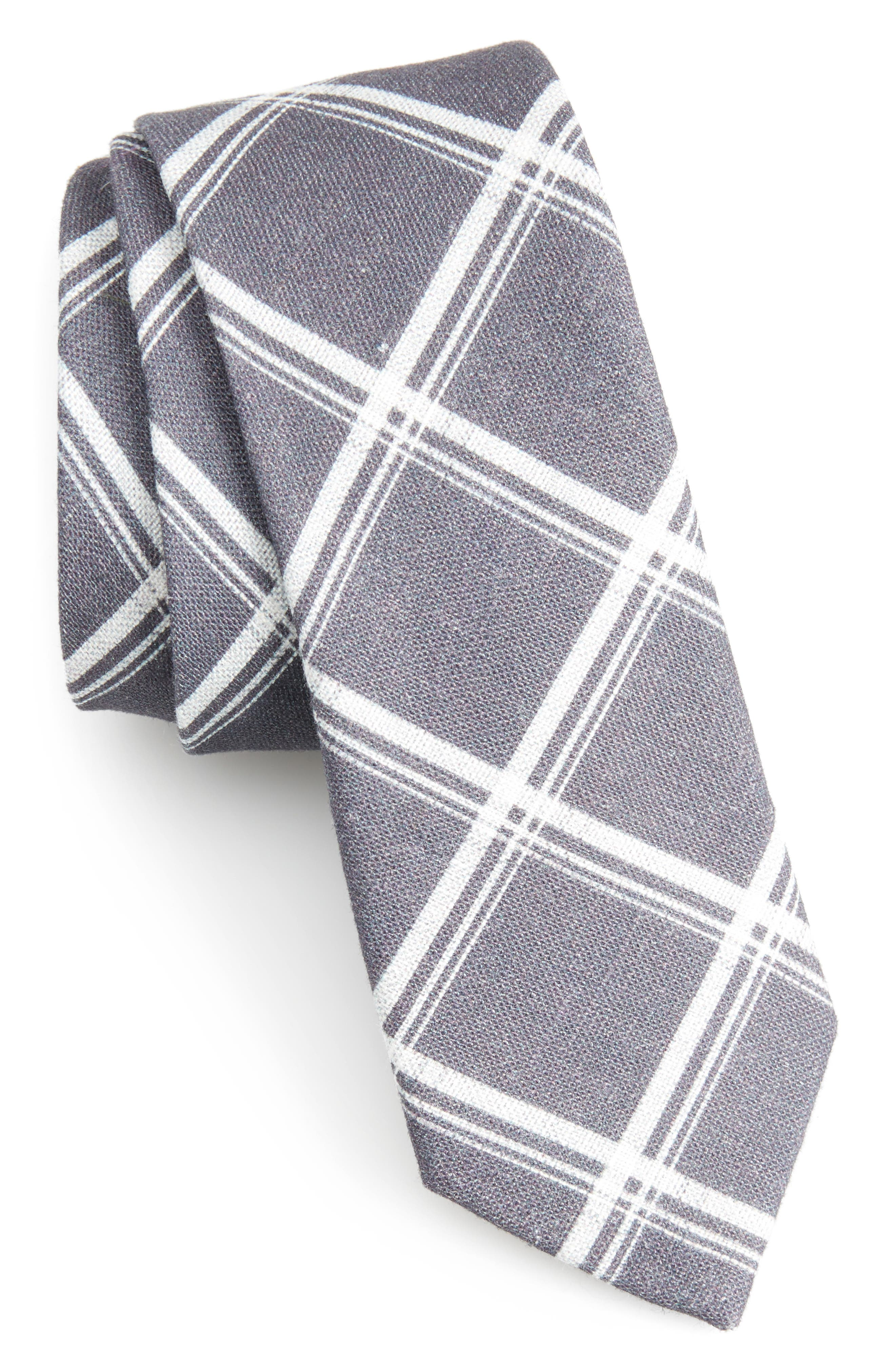 Main Image - The Tie Bar Jet Plaid Linen Skinny Tie