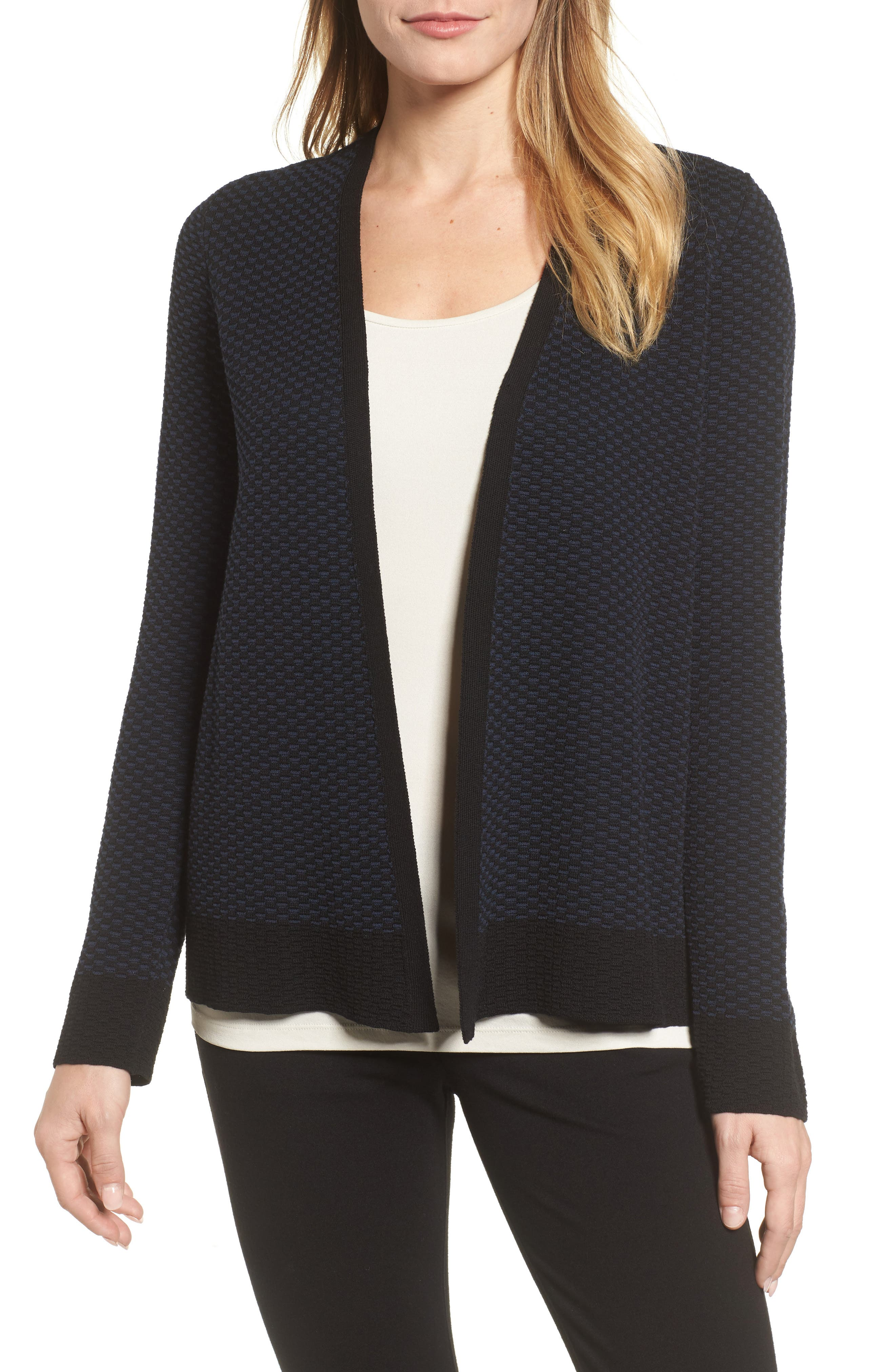 Simple Open Cardigan,                             Main thumbnail 1, color,                             Midnight