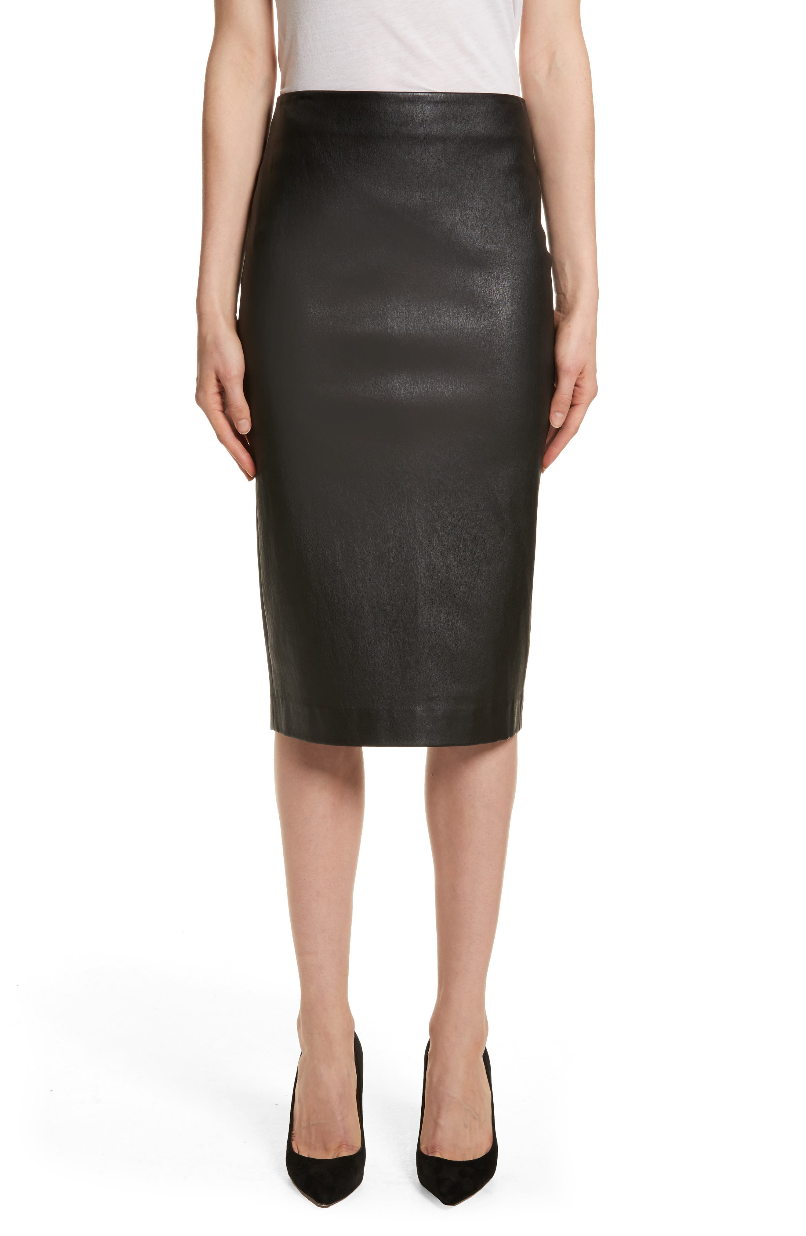 Leather Skinny Pencil Skirt,                             Main thumbnail 1, color,                             Black