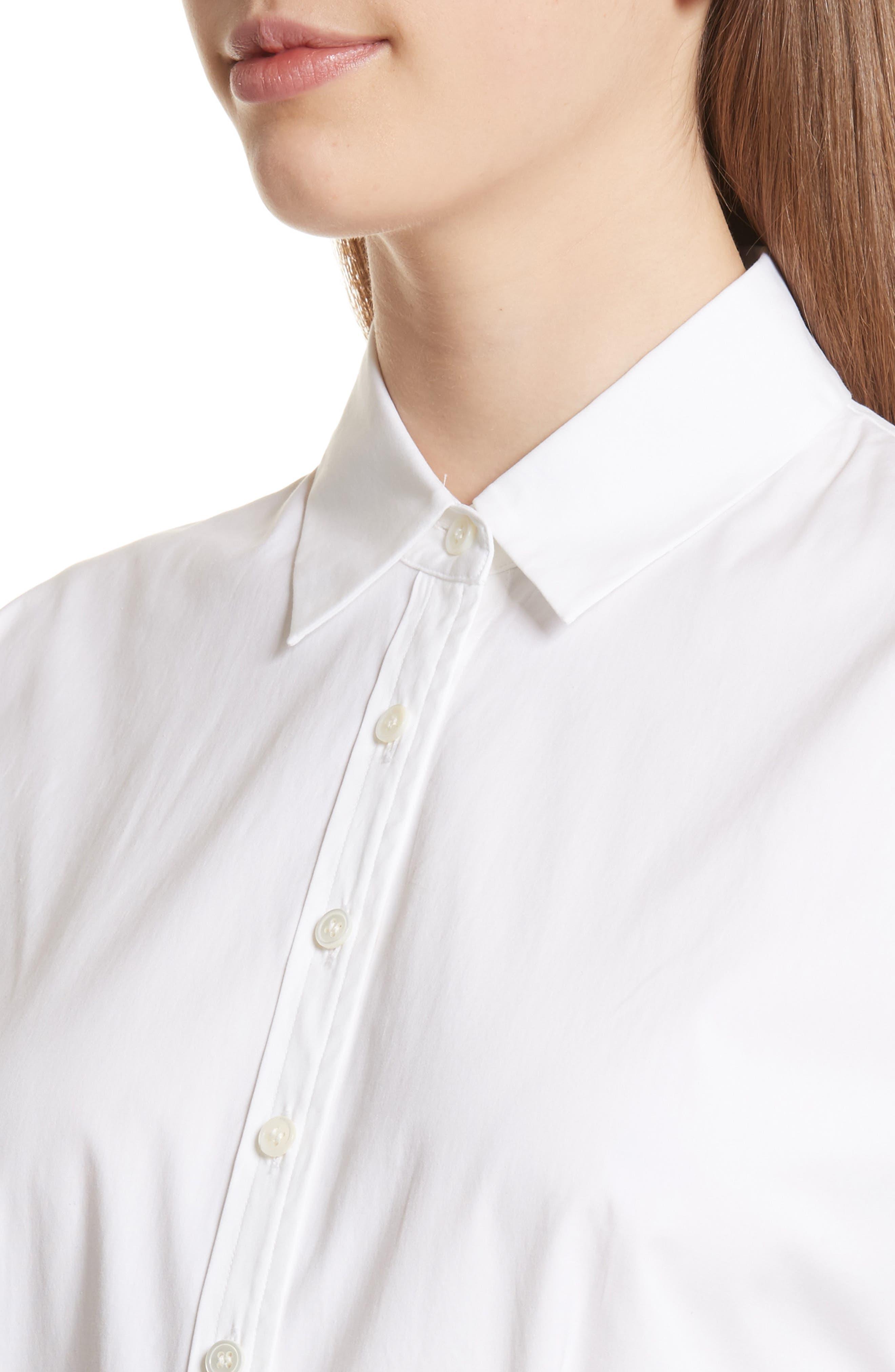 Stretch Cotton Crop Button Down Shirt,                             Alternate thumbnail 4, color,                             White