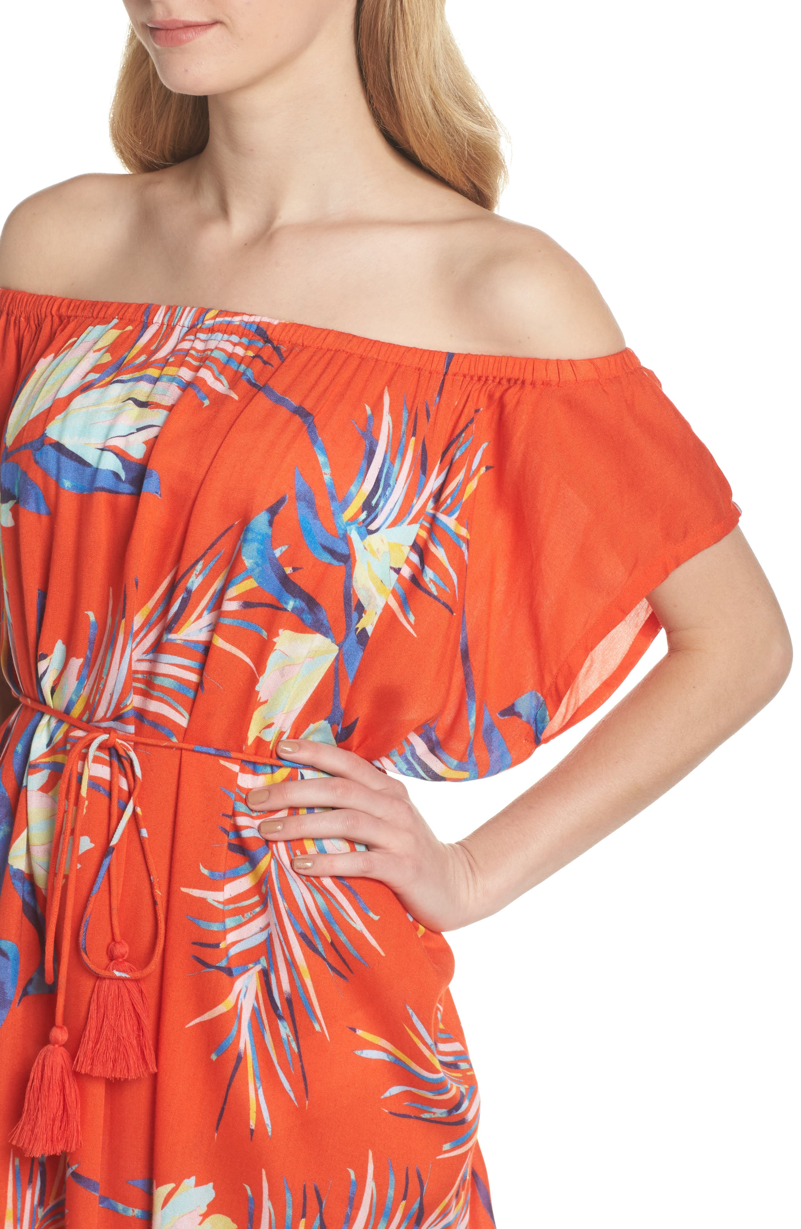 Paradise Palm Off the Shoulder Cover-Up Dress,                             Alternate thumbnail 4, color,                             Tangerine
