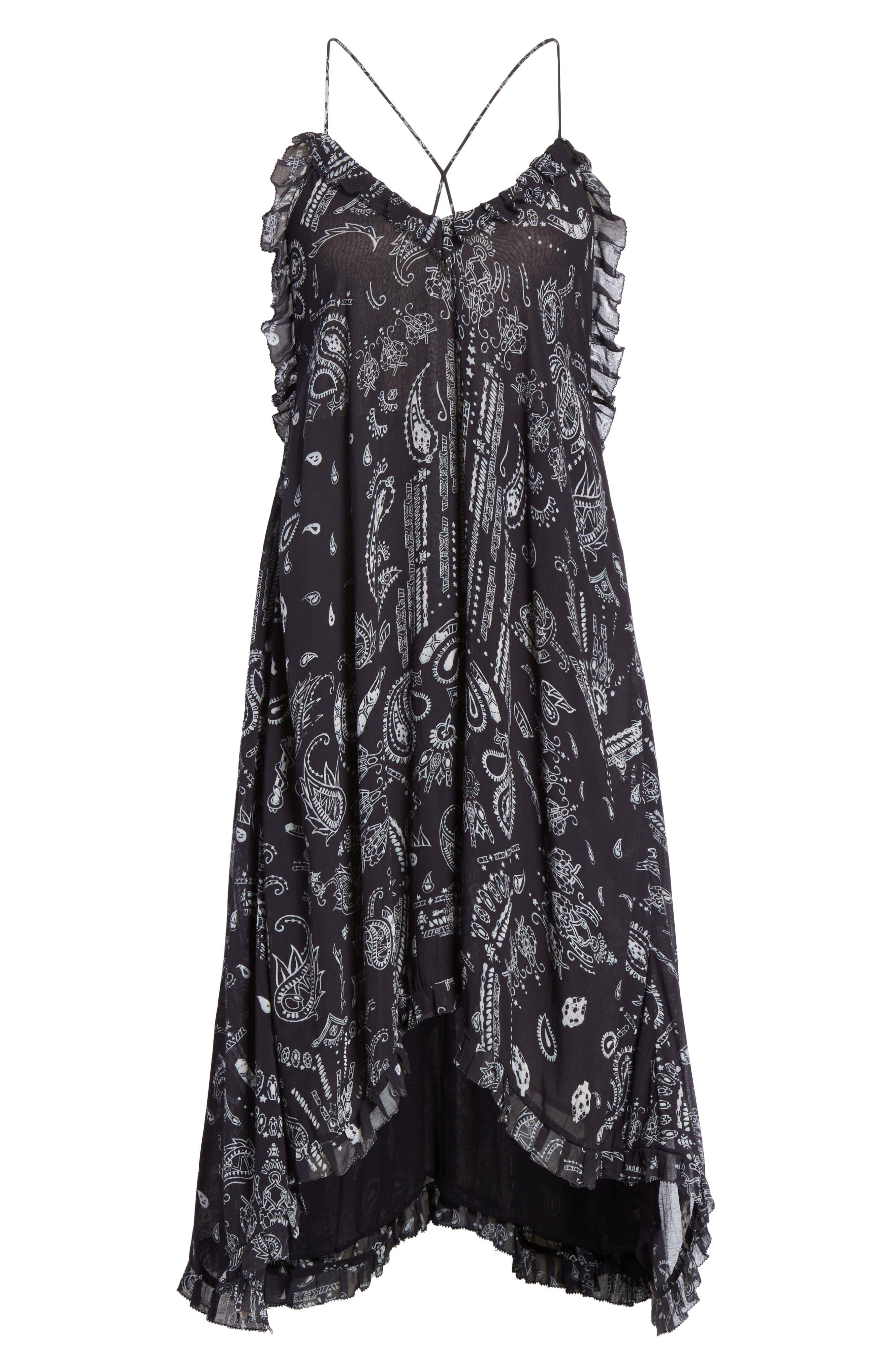 Bagda Bandana Print Ruffle Trim Dress,                             Alternate thumbnail 6, color,                             Black